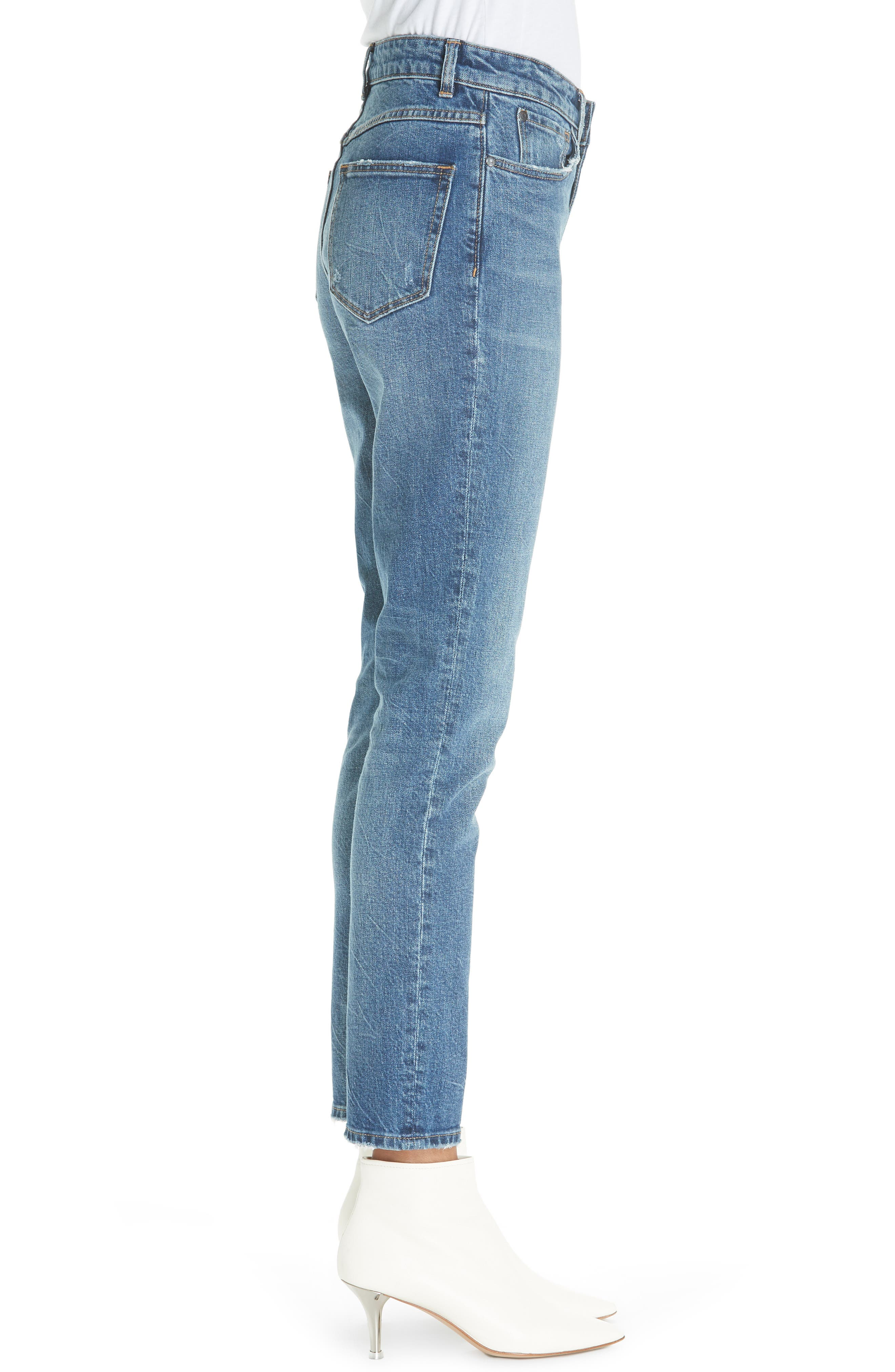 High Waist Straight Leg Jeans,                             Alternate thumbnail 3, color,                             GARWSH