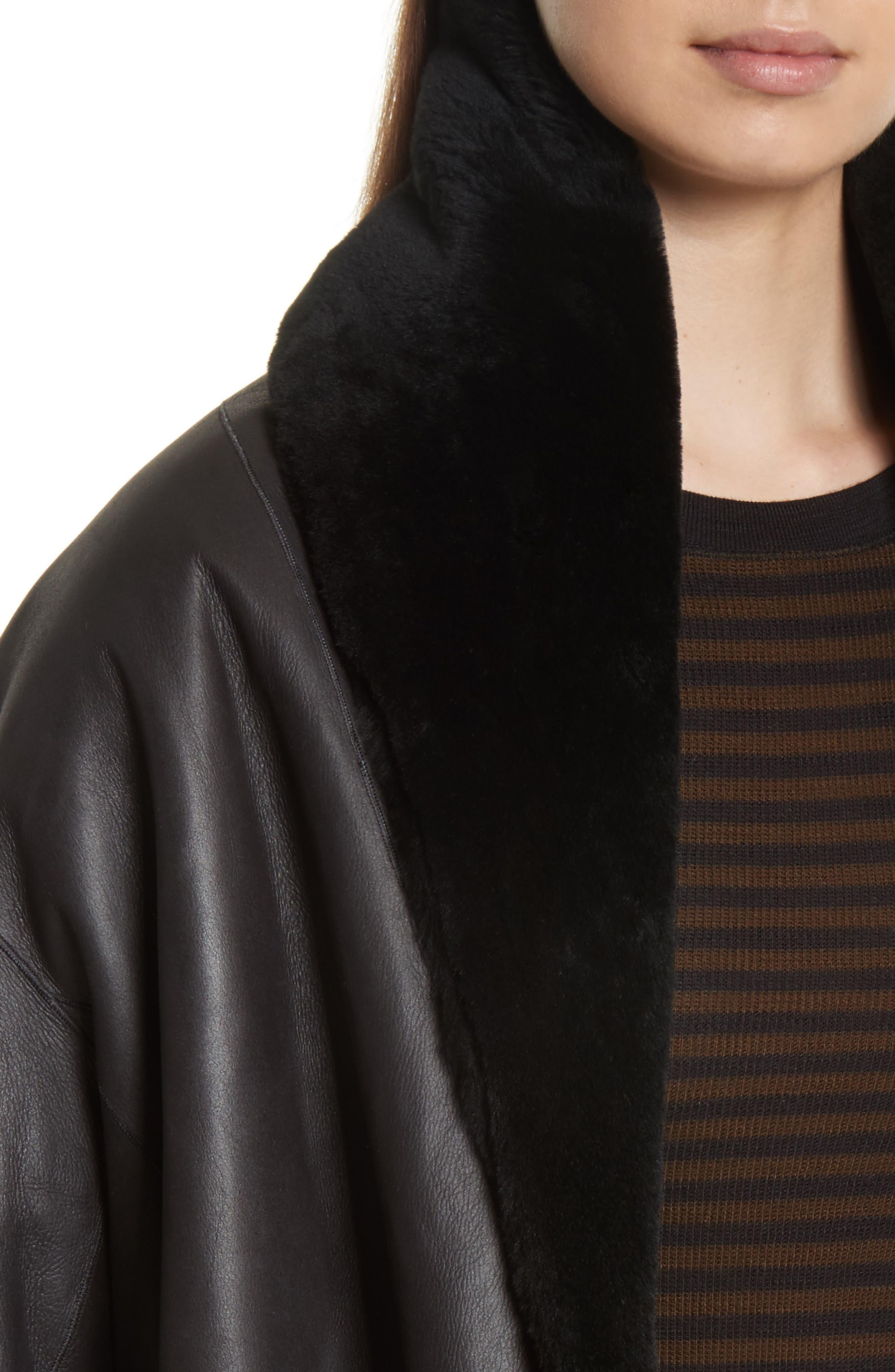 Shawl Collar Genuine Shearling Reversible Coat,                             Alternate thumbnail 4, color,                             012