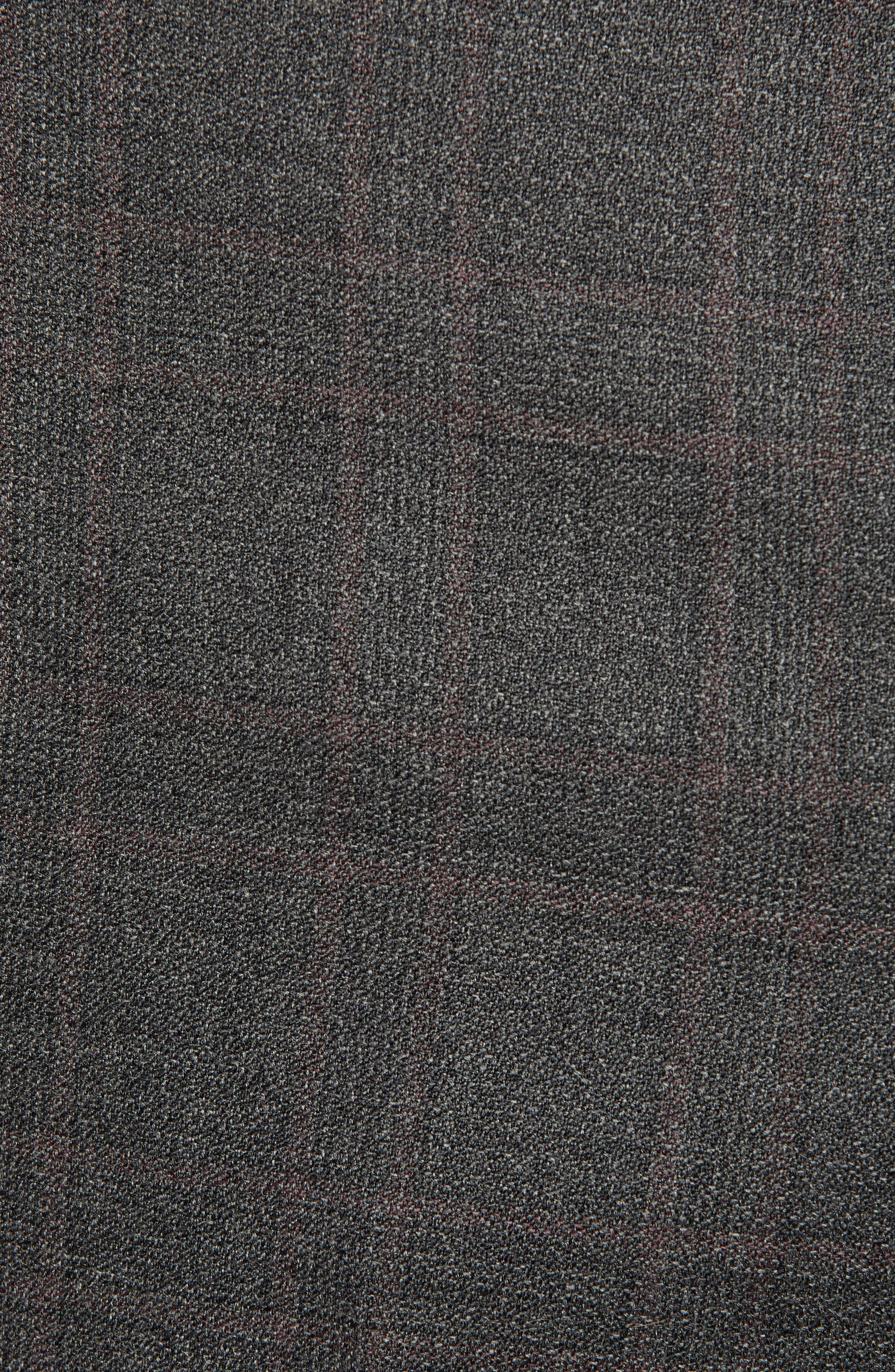 Jefferson Flat Front Plaid Wool Trousers,                             Alternate thumbnail 5, color,                             GREY
