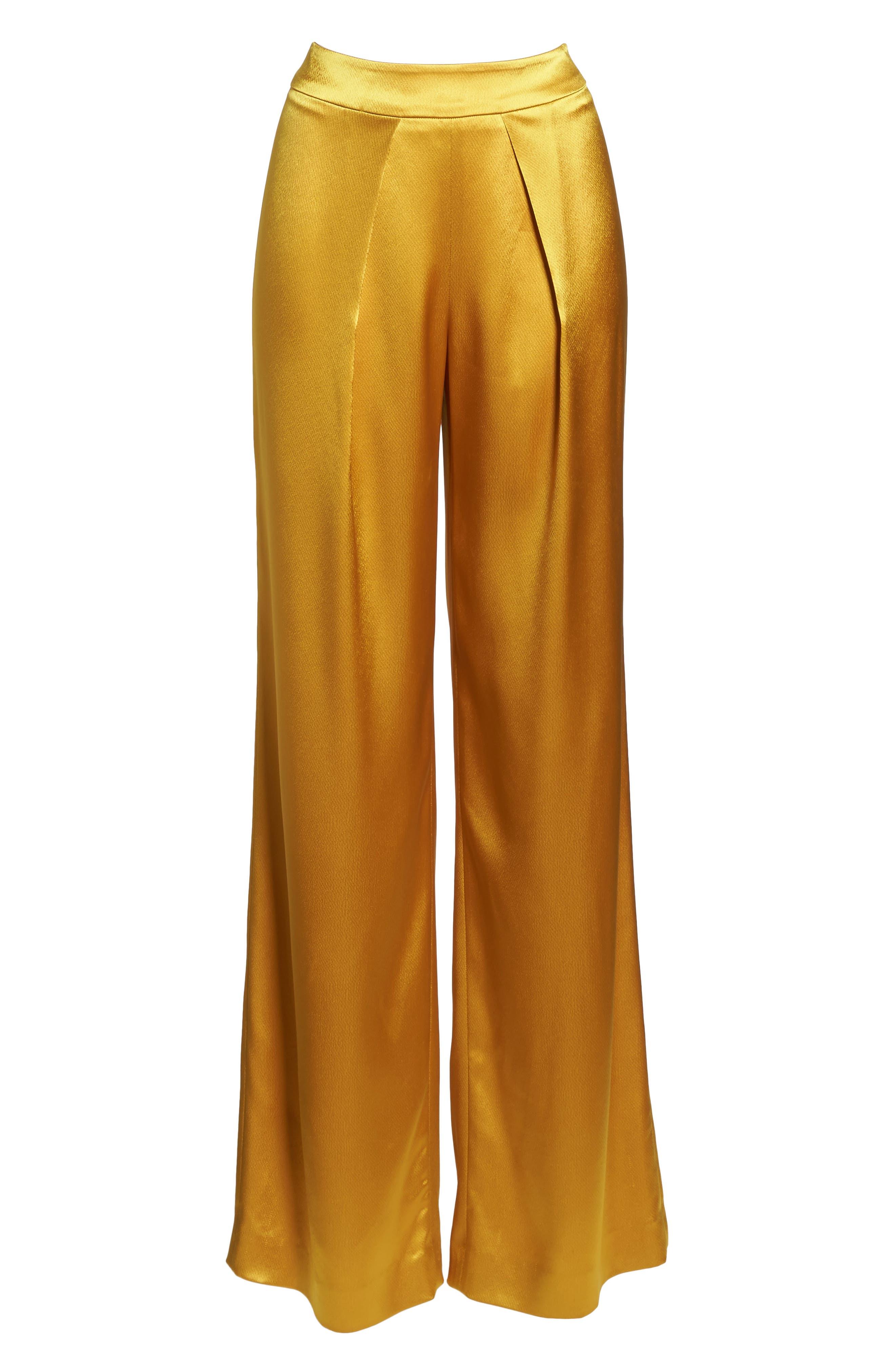 Fancy Pleated Front Satin Pants,                             Alternate thumbnail 6, color,                             700