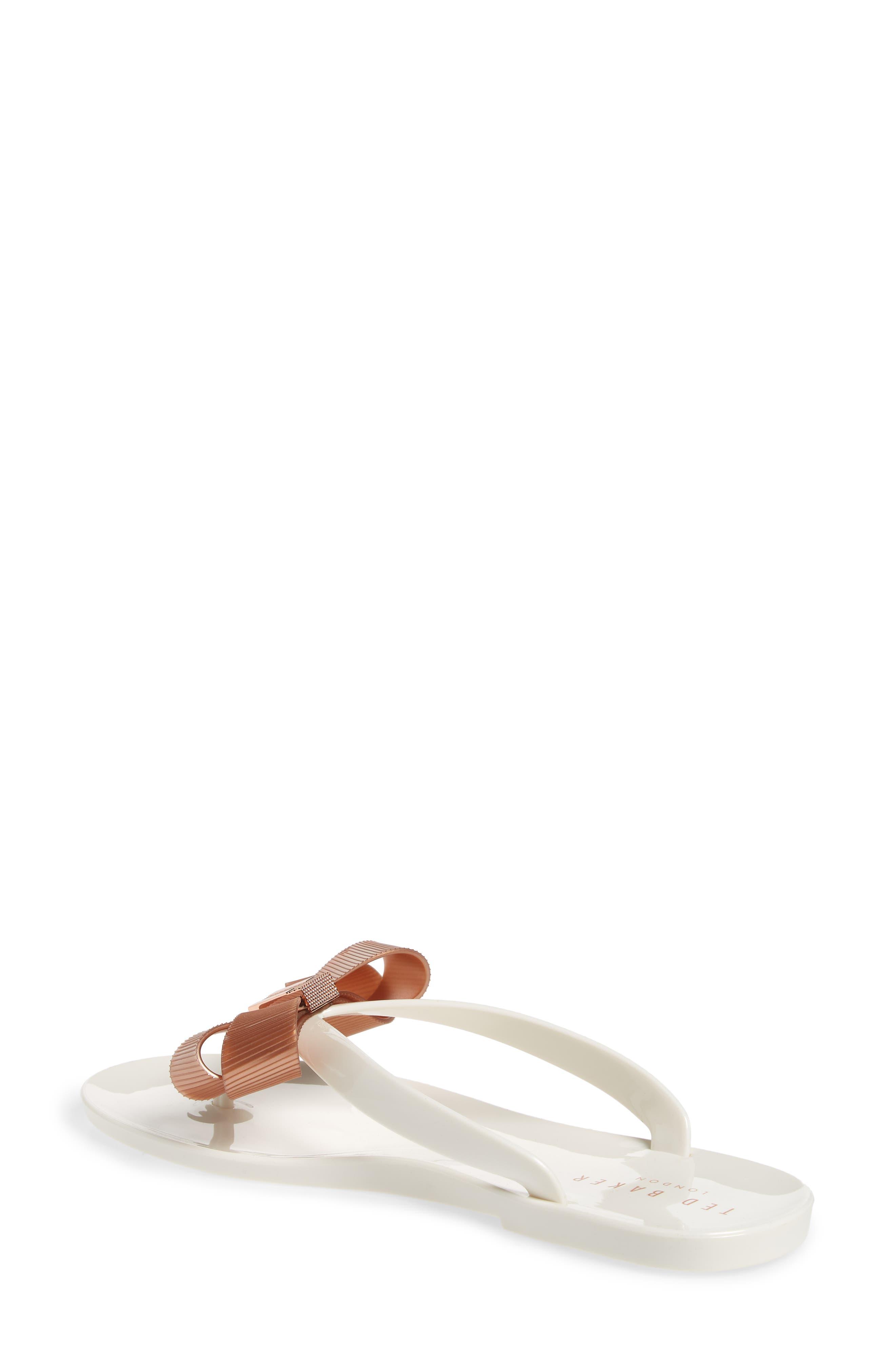 Suszie Flip Flop,                             Alternate thumbnail 2, color,                             WHITE/ ROSE GOLD FABRIC