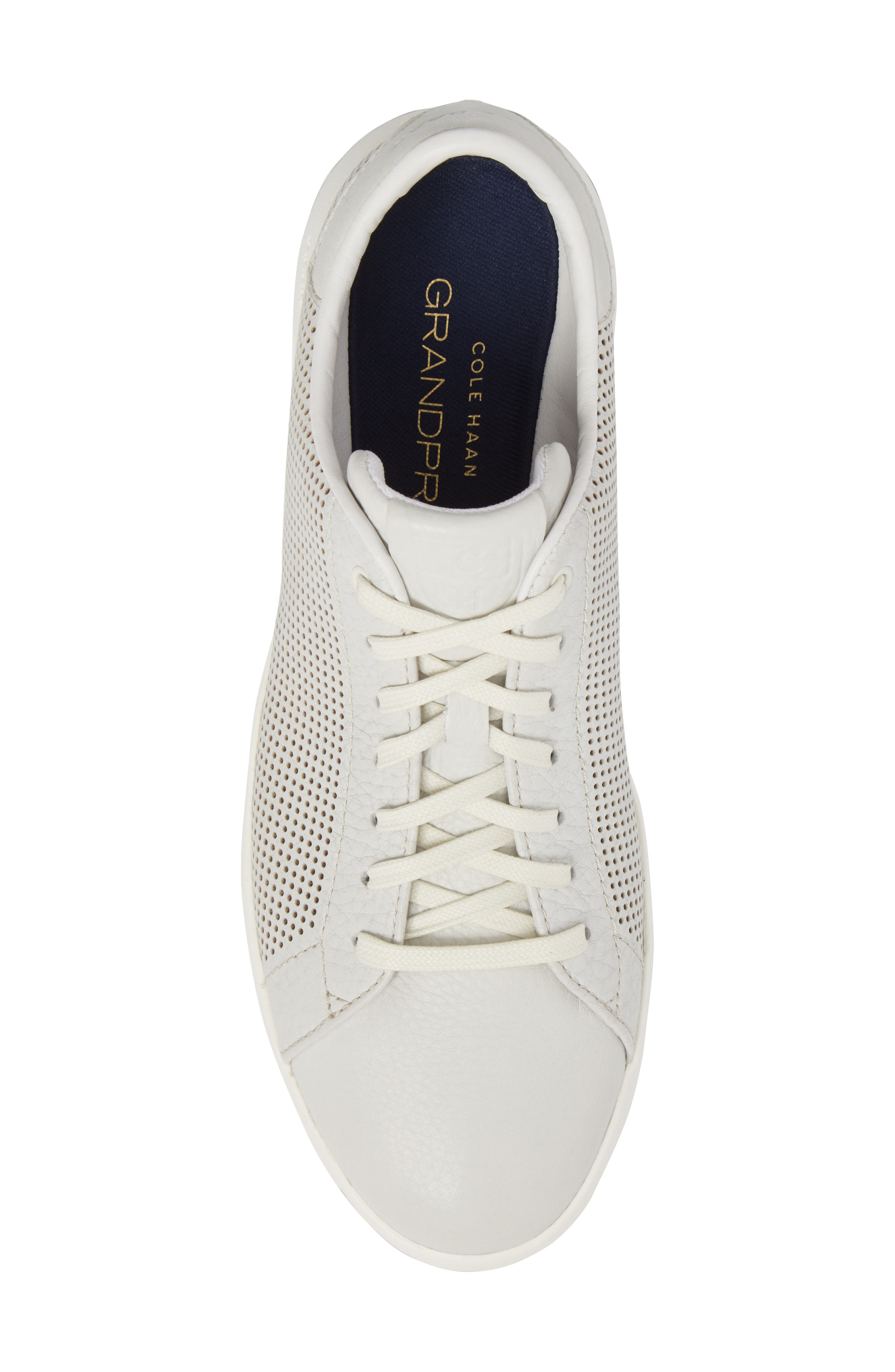 GrandPrø Perforated Low Top Sneaker,                             Alternate thumbnail 5, color,                             WHITE TUM LEATHER
