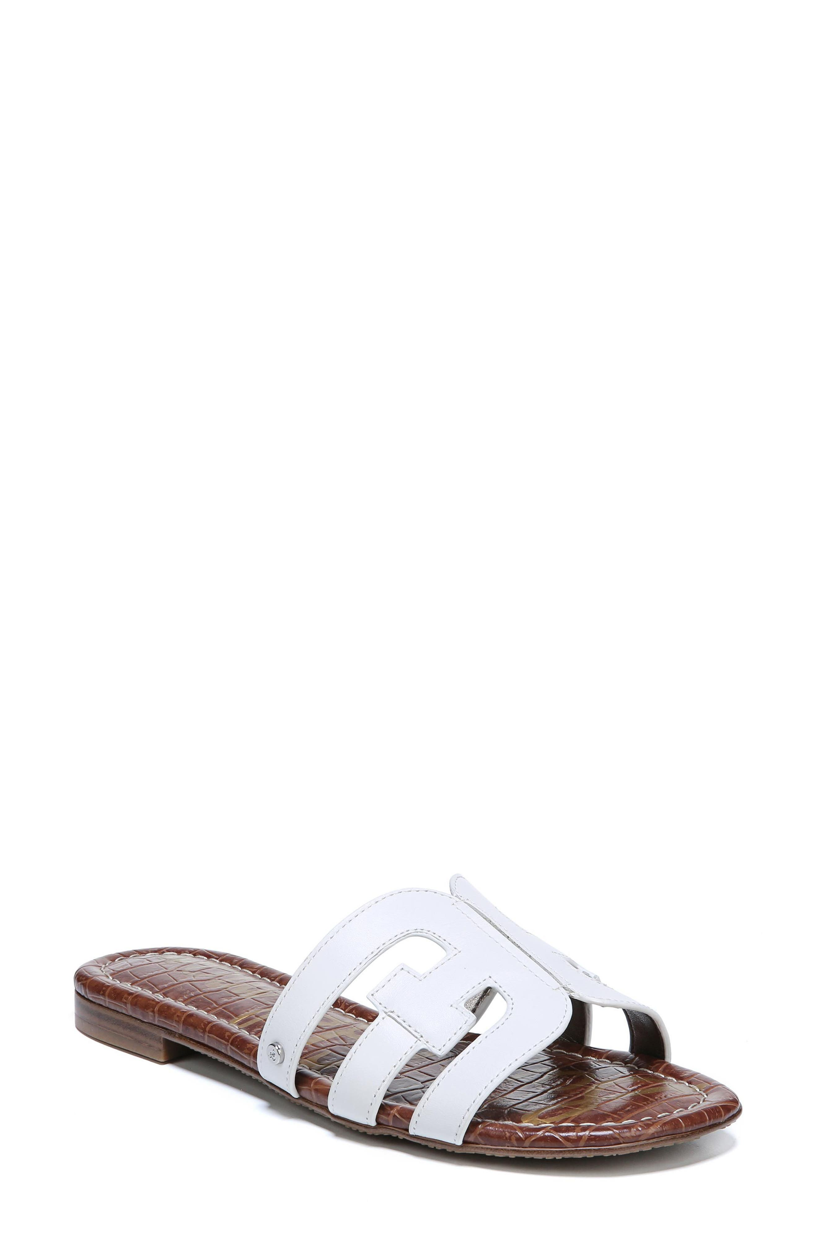 Women'S Bay Leather Slide Sandals in White from 6PM.COM