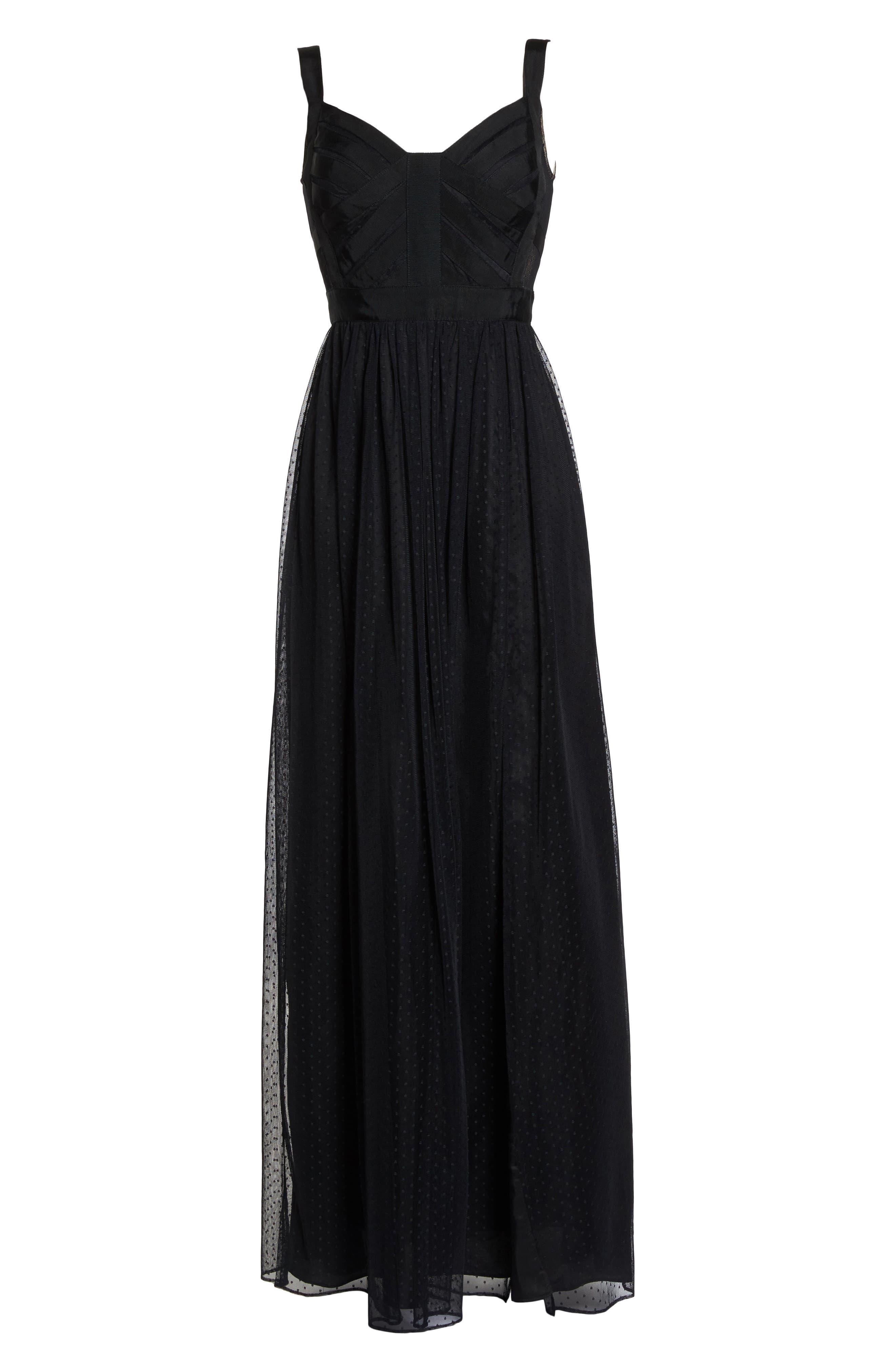 Ribbon Bodice Point d'Esprit Gown,                             Alternate thumbnail 6, color,                             002