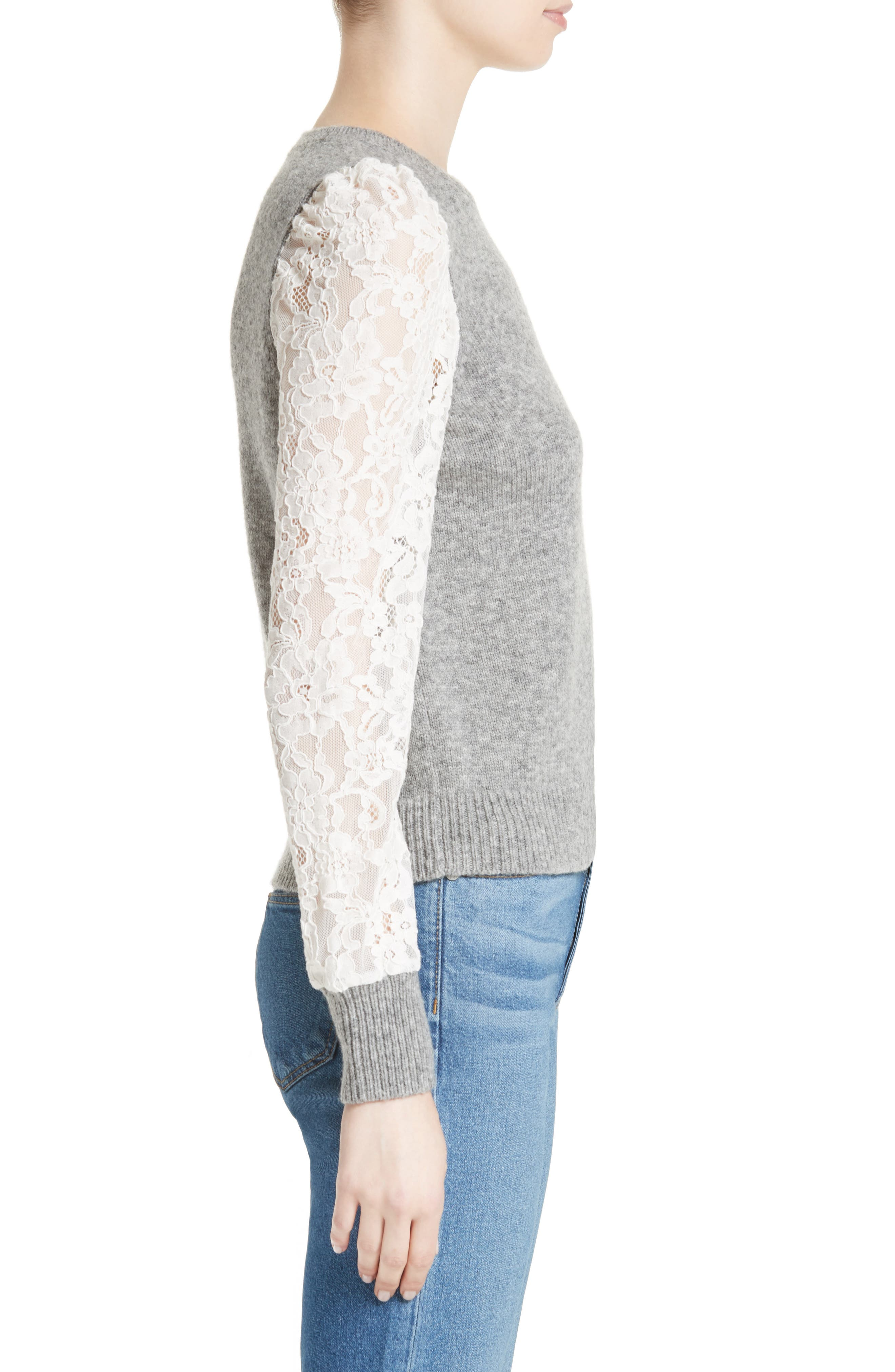 REBECCA TAYLOR,                             Lace Sleeve Sweater,                             Alternate thumbnail 3, color,                             063