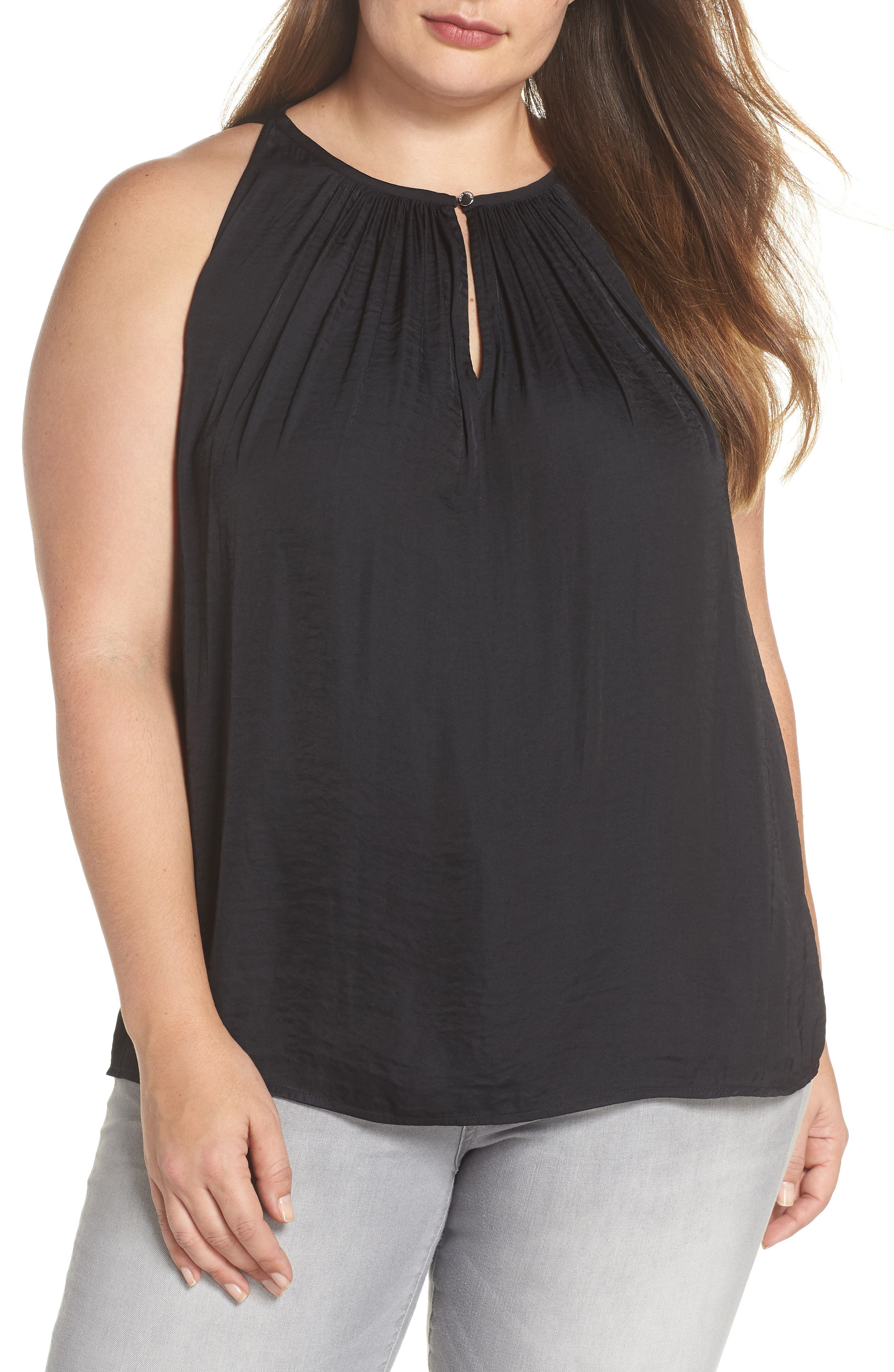 Rumpled Satin Keyhole Top,                             Main thumbnail 1, color,                             010