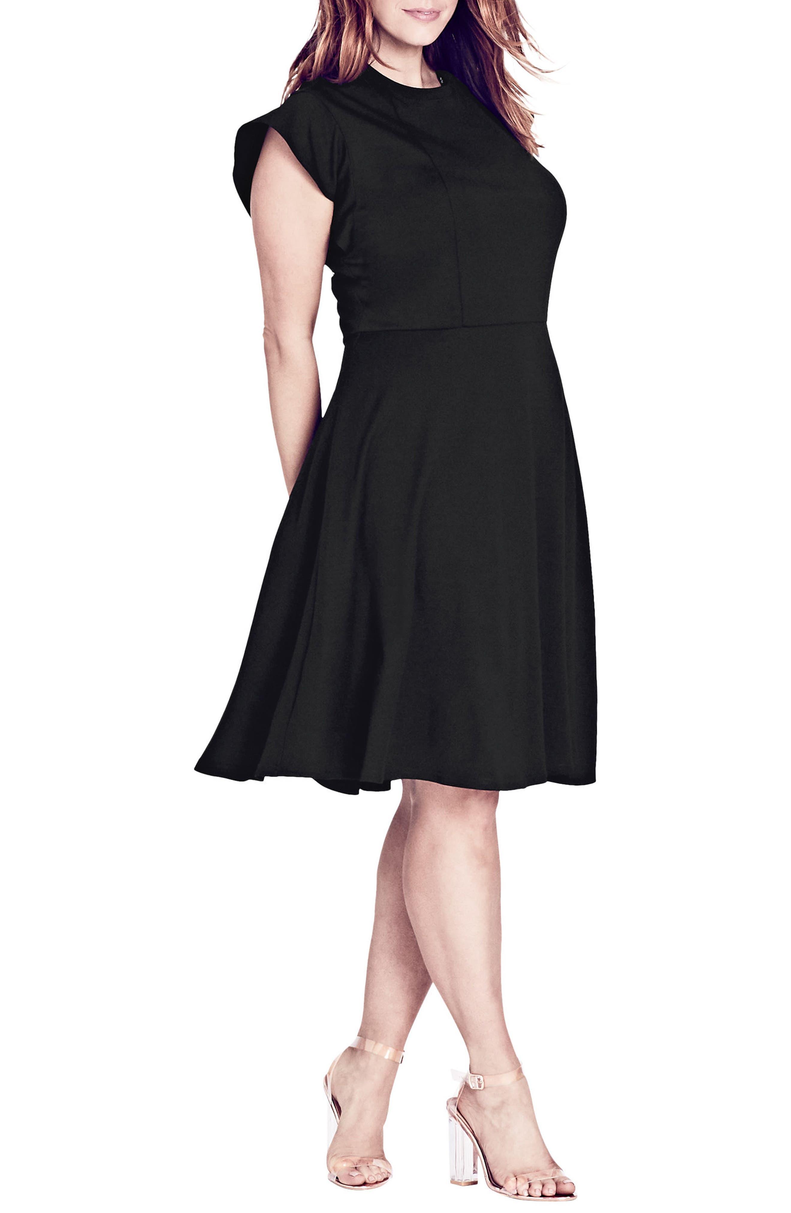 CITY CHIC,                             Lady Valerie Fit & Flare Dress,                             Alternate thumbnail 3, color,                             BLACK