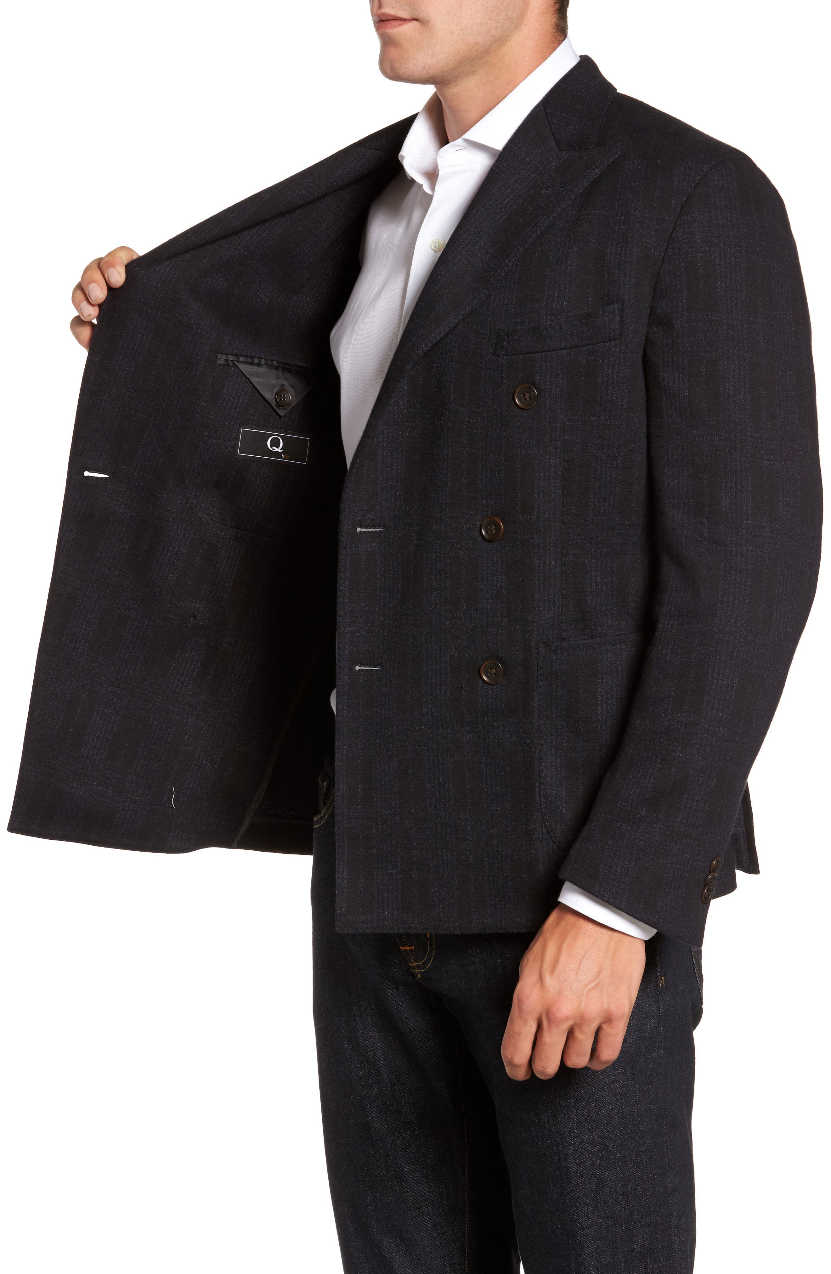 Classic Fit Jersey Double-Breasted Sport Coat,                             Alternate thumbnail 3, color,                             001