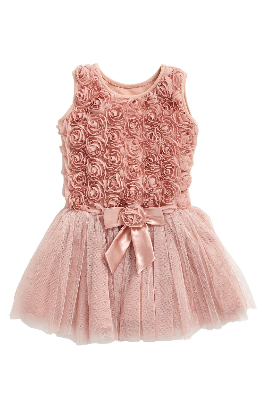 Ribbon Rosette Tutu Dress,                         Main,                         color, DUSTY PINK