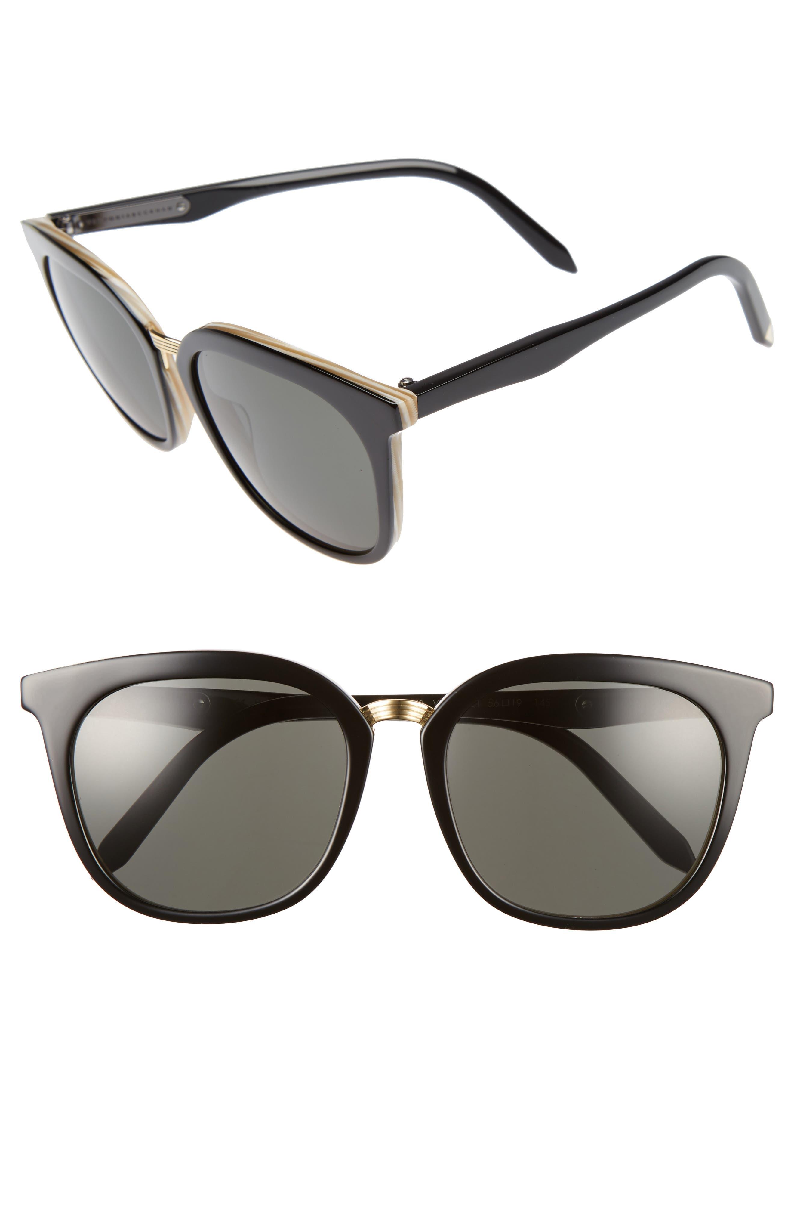 Combination Classic 56mm Sunglasses, Main, color, LIGHT HORN/ BLACK