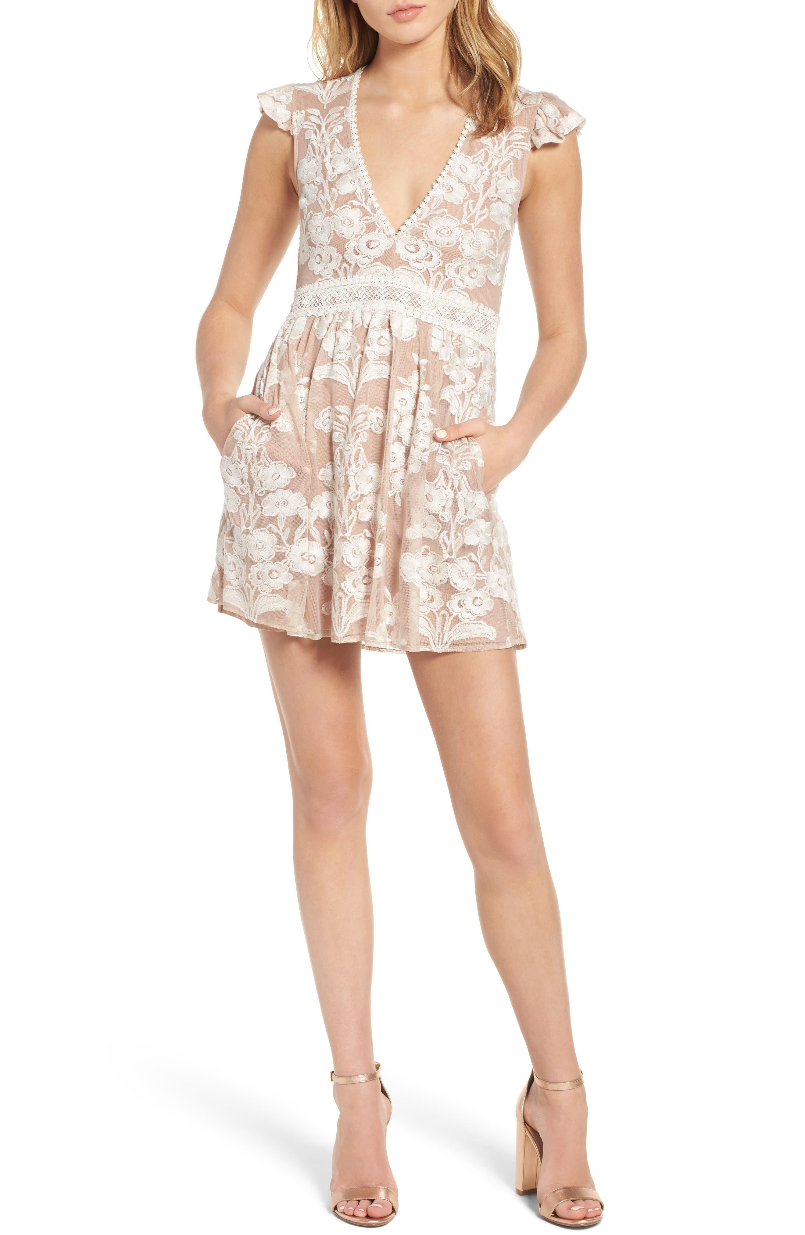 FOR LOVE & LEMONS Temecula Illusion Lace Minidress, Main, color, 902