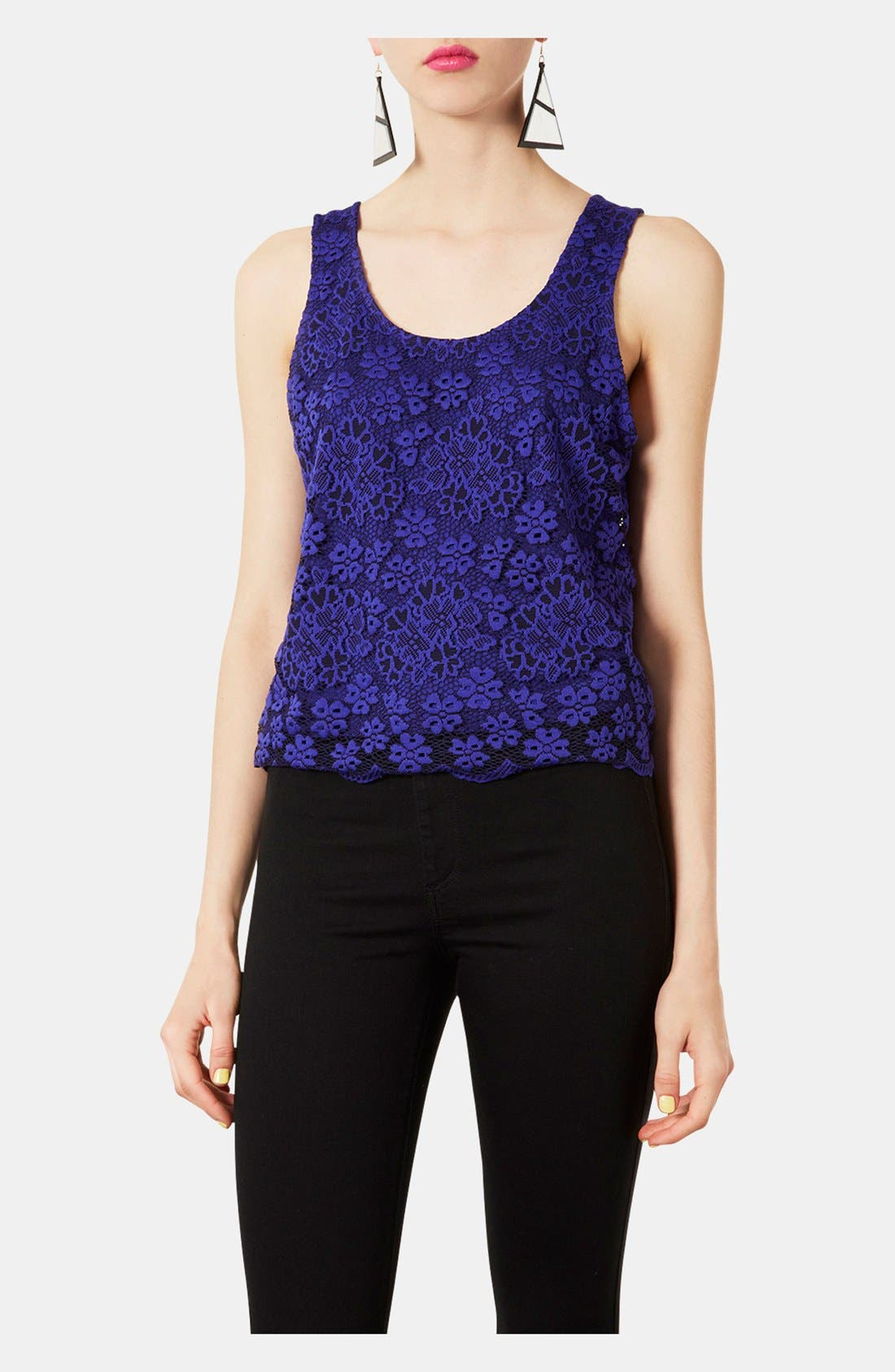Sheer Back Floral Lace Tank,                         Main,                         color, 430