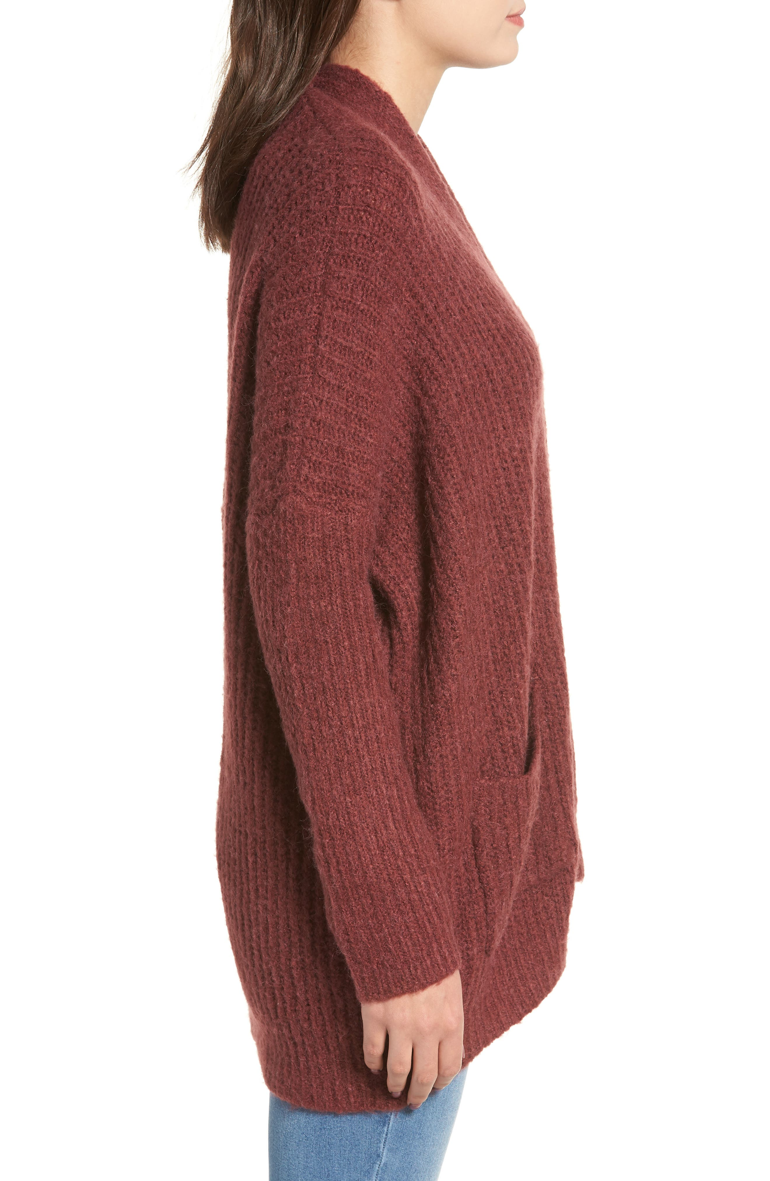 Rib Knit Open Cardigan,                             Alternate thumbnail 3, color,                             DUST PLUM
