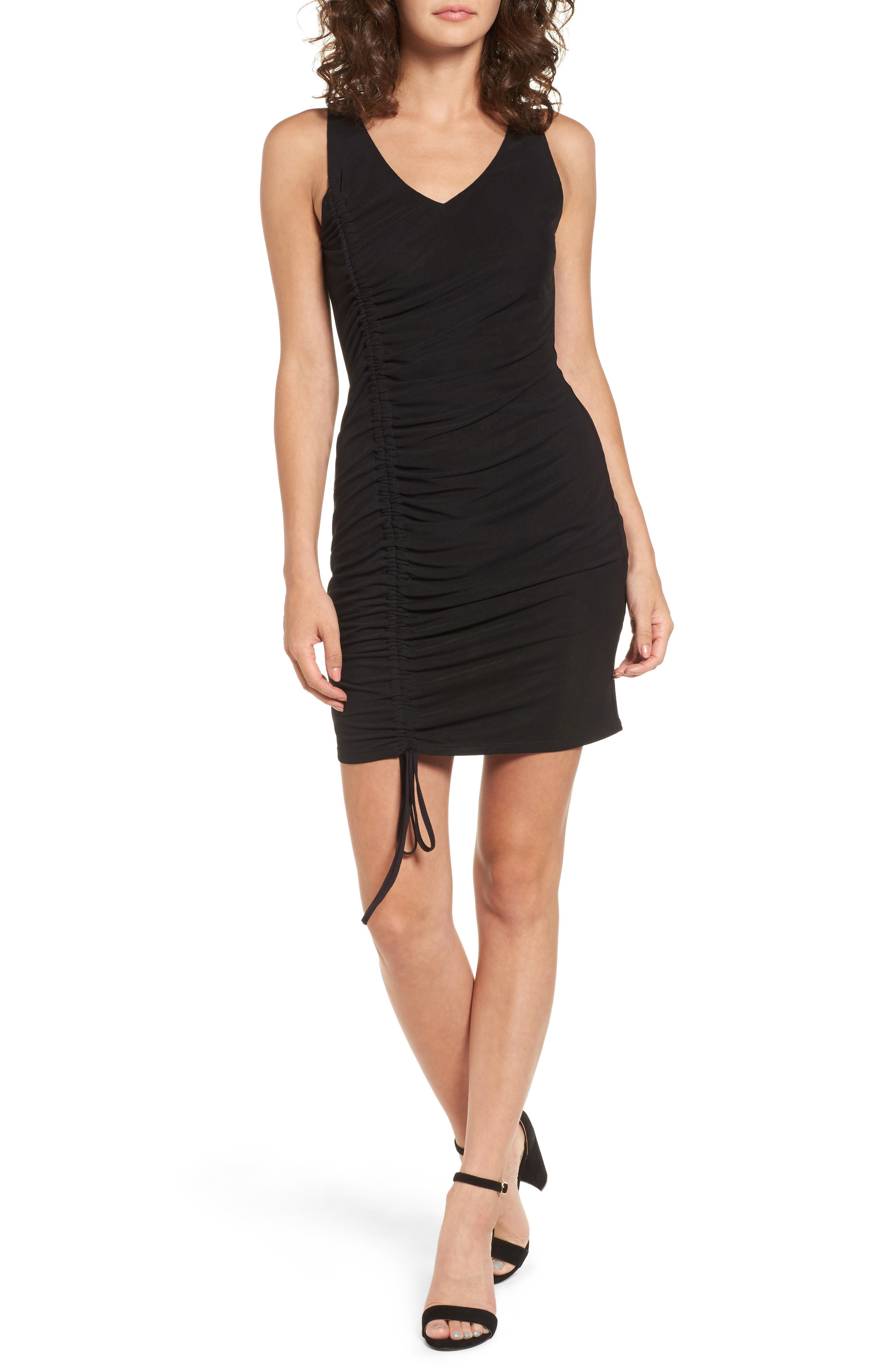 Ruched Dress,                             Main thumbnail 1, color,                             001