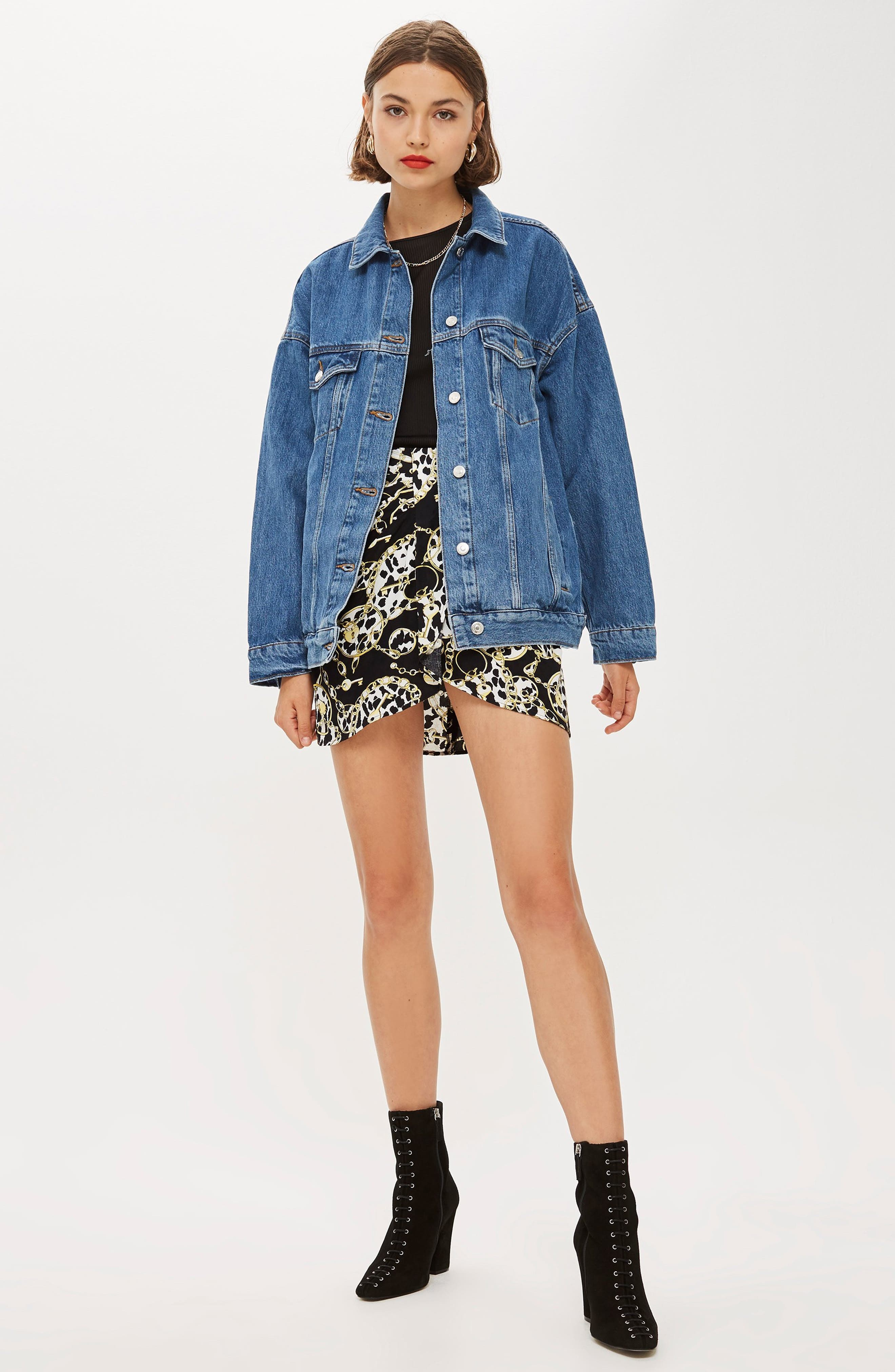 Oversized Denim Jacket,                             Alternate thumbnail 6, color,                             MID DENIM