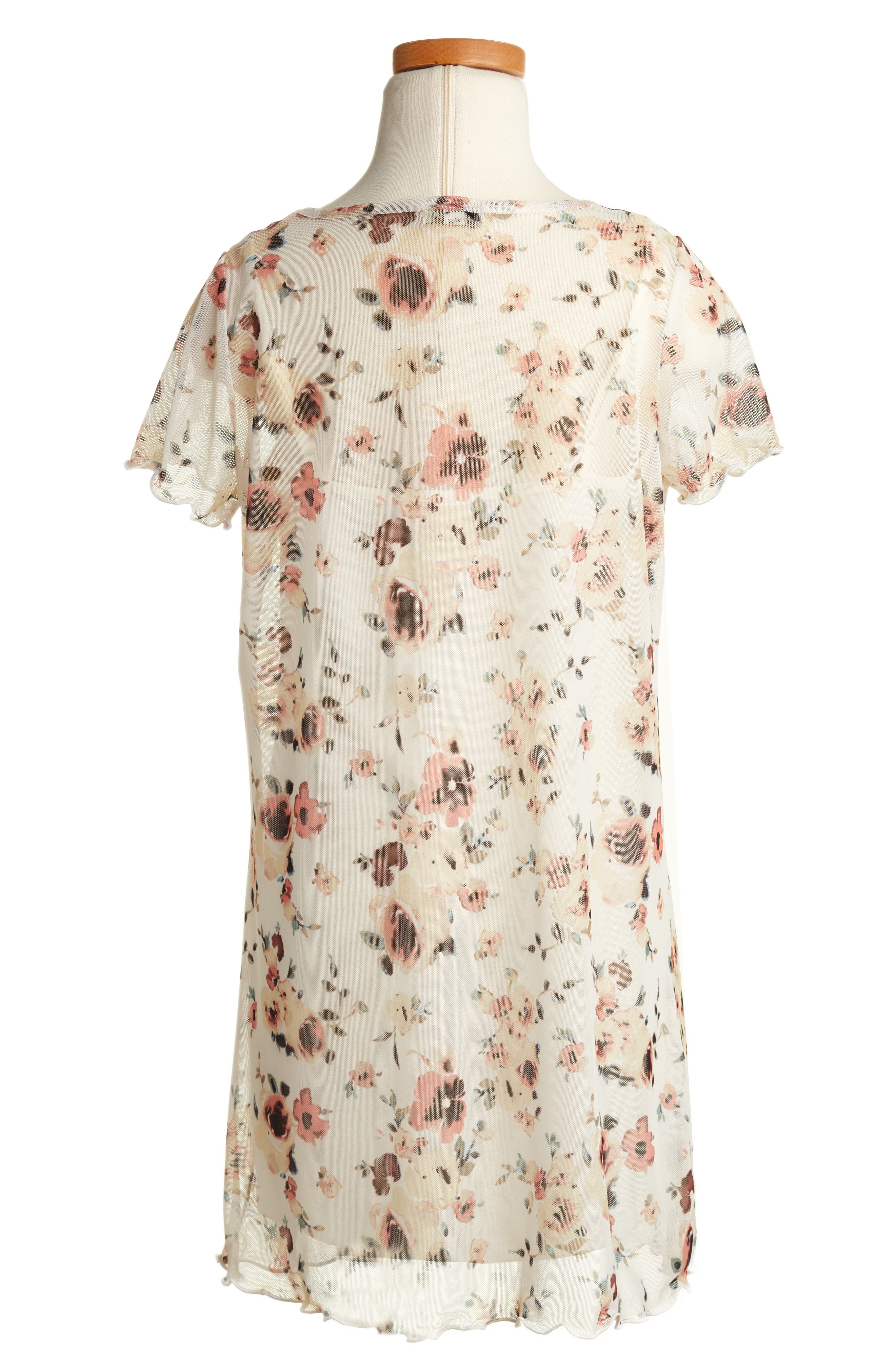 Floral Mesh T-Shirt Dress,                             Alternate thumbnail 2, color,                             114