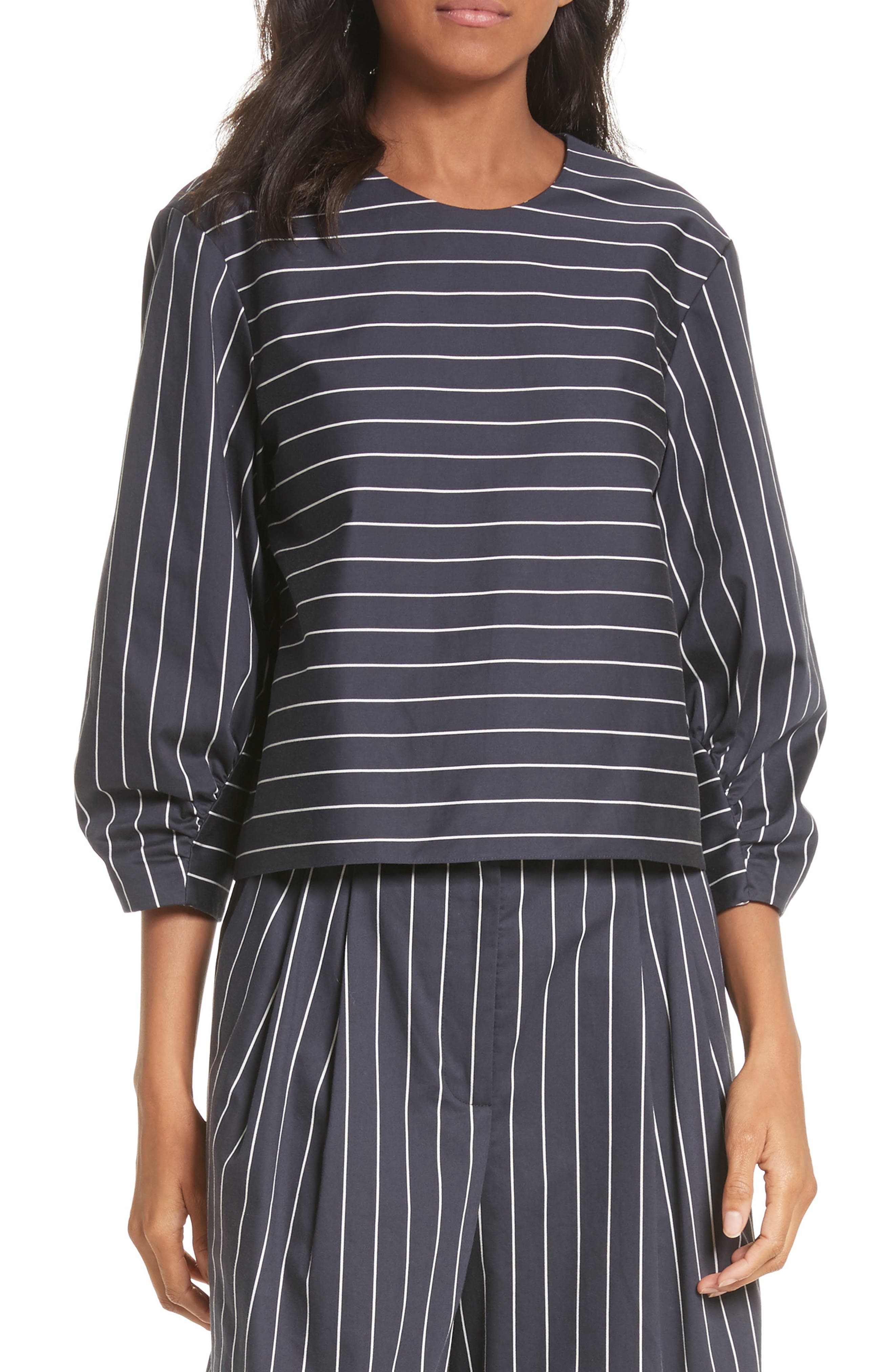 Shirred Sleeve Crop Top,                         Main,                         color, 402