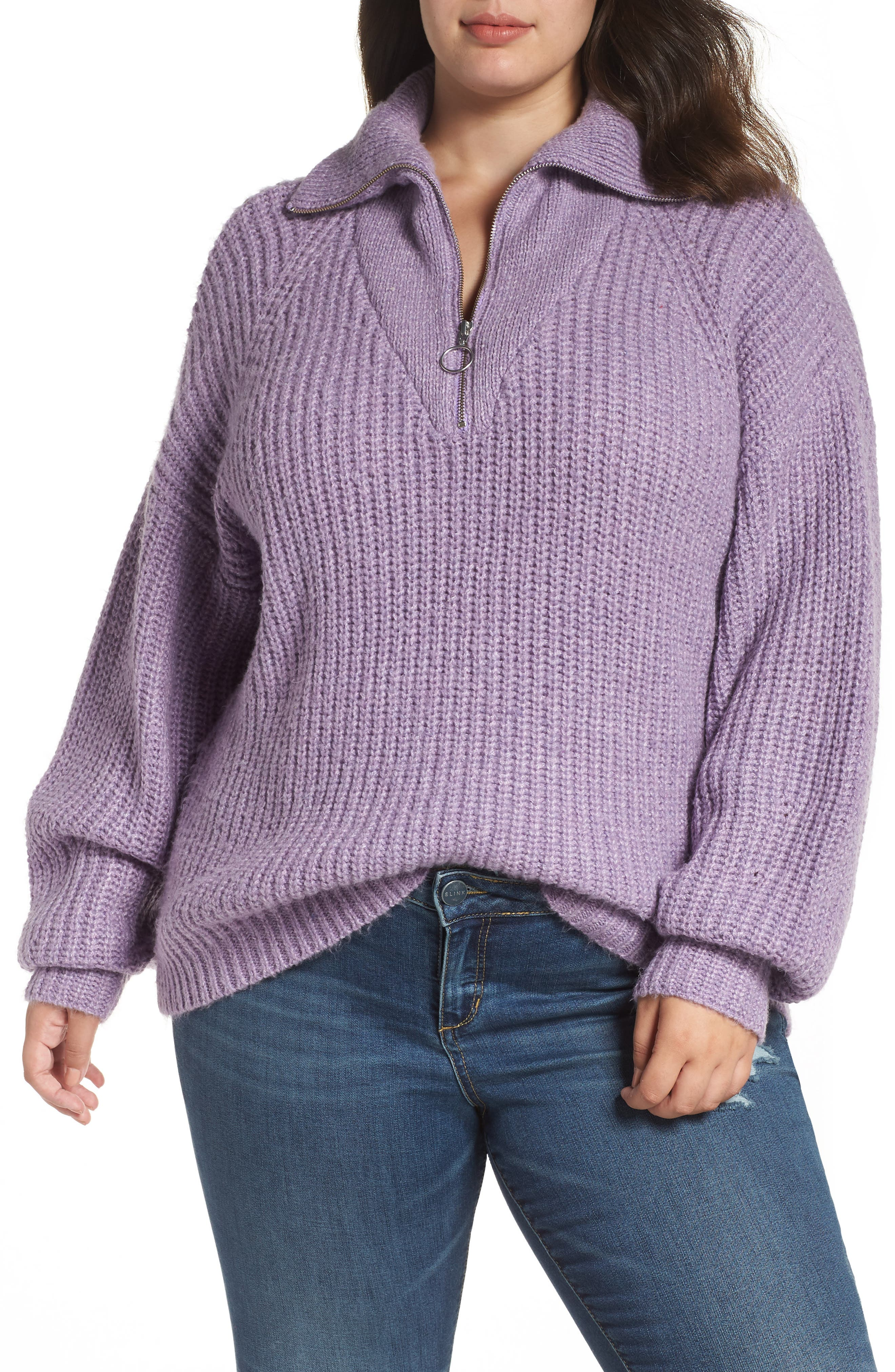 BP. Quarter Zip Sweater, Main, color, PURPLE WAVE