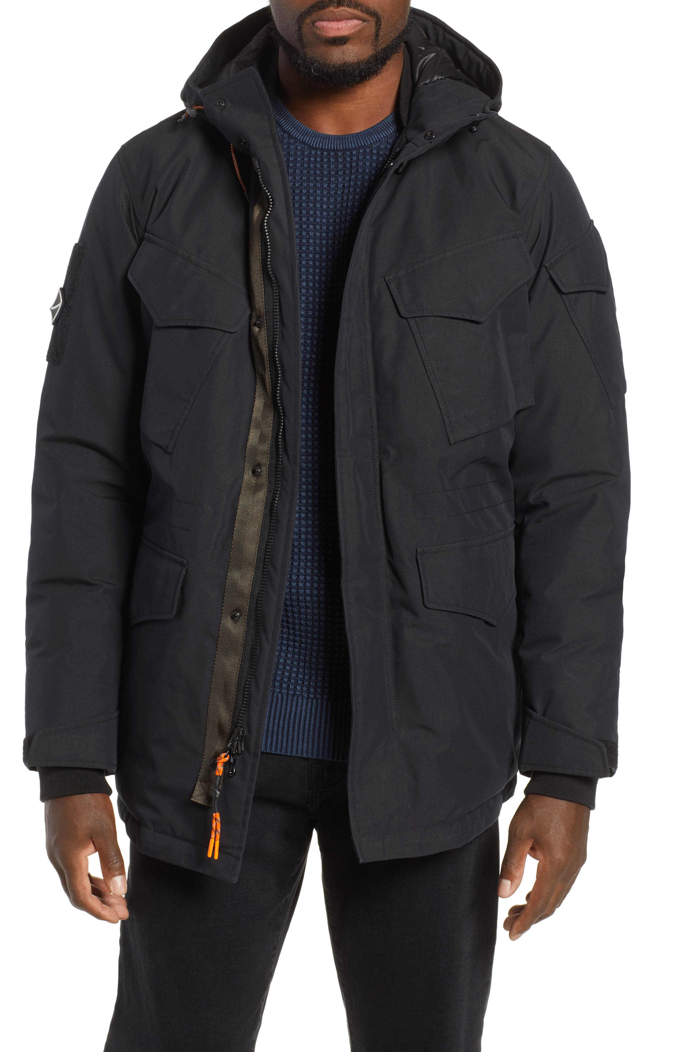 Regular Fit Surplus Down Jacket,                             Main thumbnail 1, color,                             BLACK