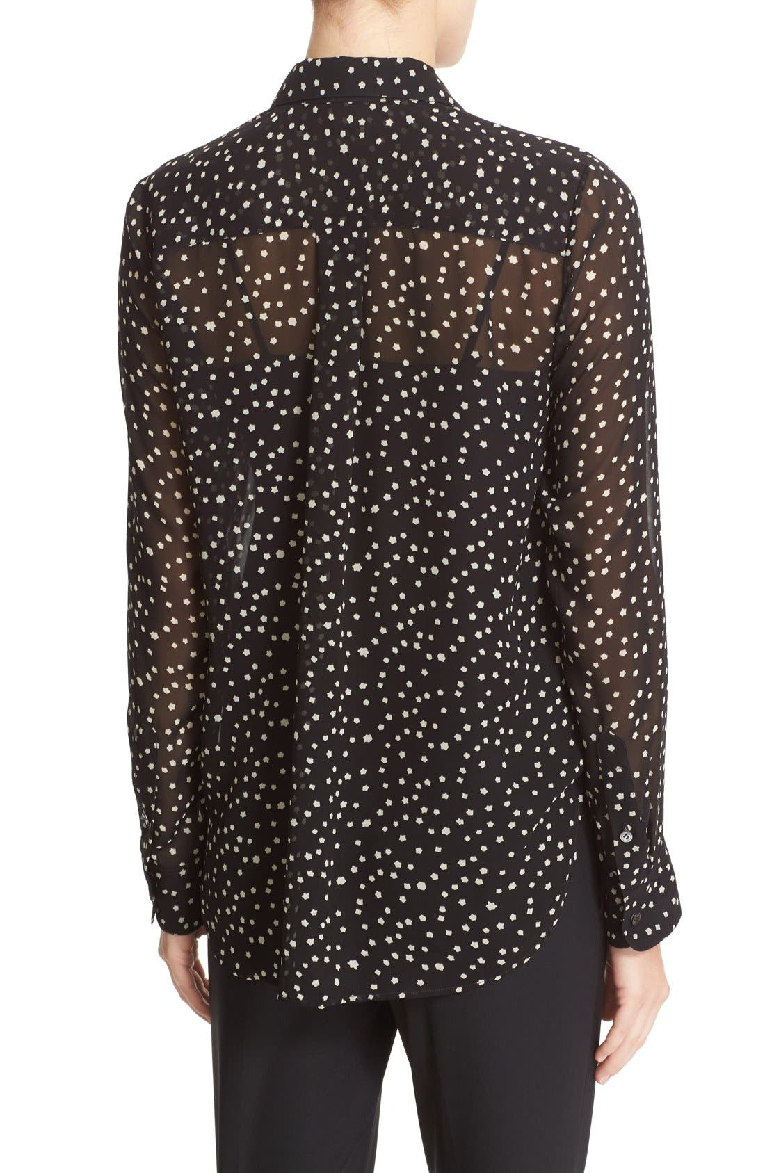 THEORY,                             Sunaya NC Starry Print Silk Blouse,                             Alternate thumbnail 3, color,                             010