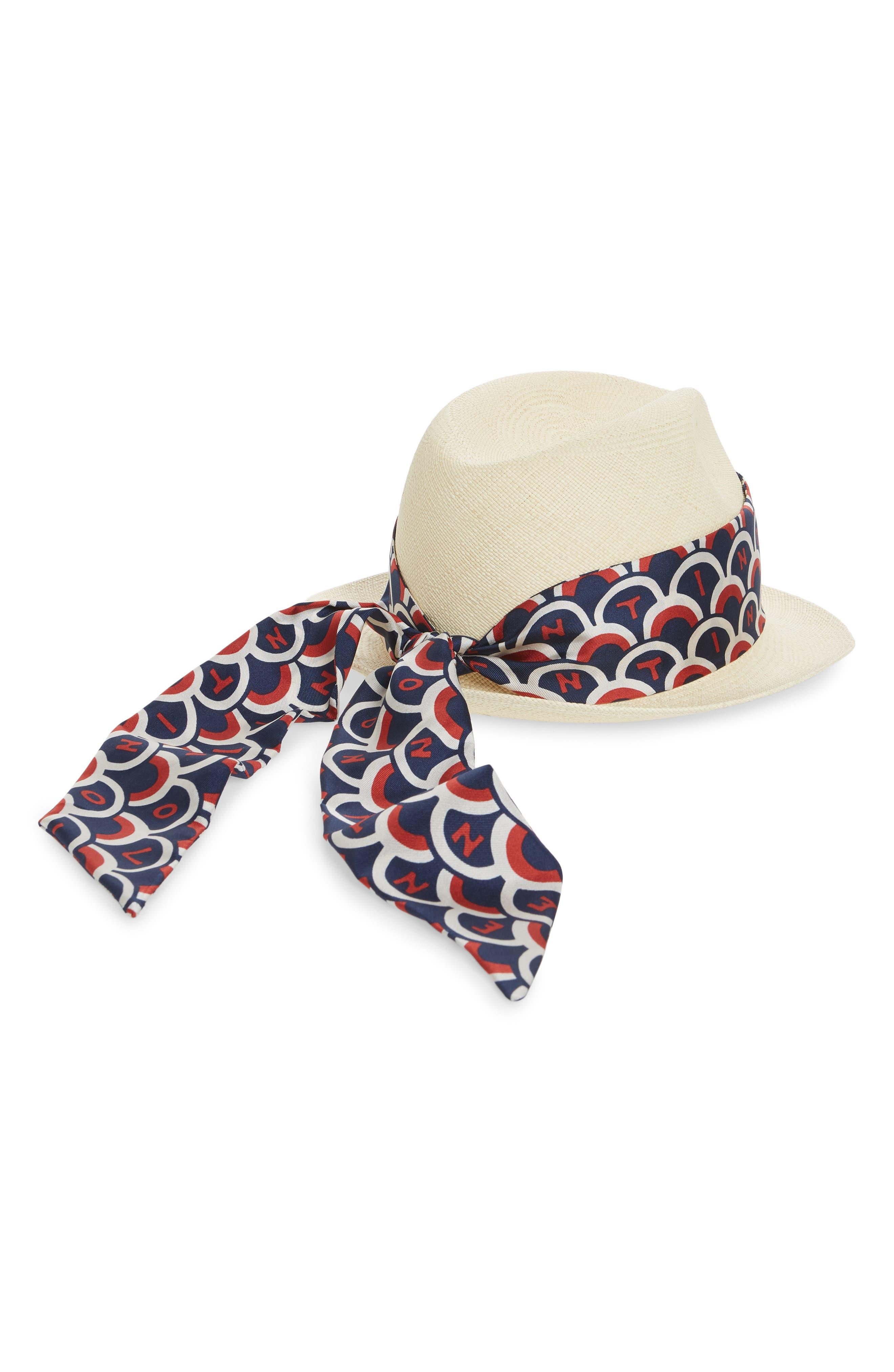 Logo Scarf Straw Hat,                             Alternate thumbnail 2, color,                             PURE BLUE/ MATTONE-AVORIO