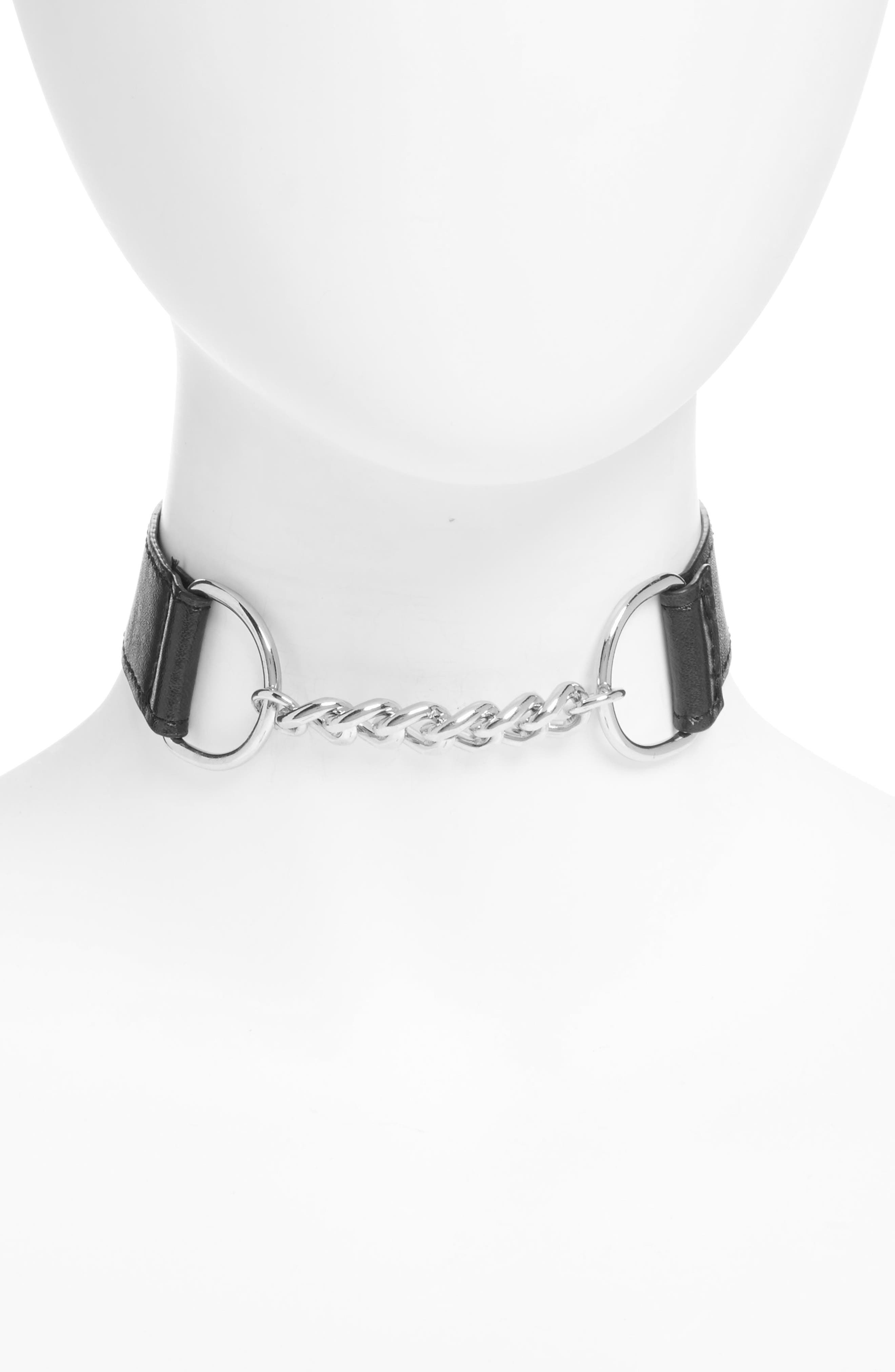 TOPSHOP,                             Chain Faux Leather Buckle Choker,                             Main thumbnail 1, color,                             001
