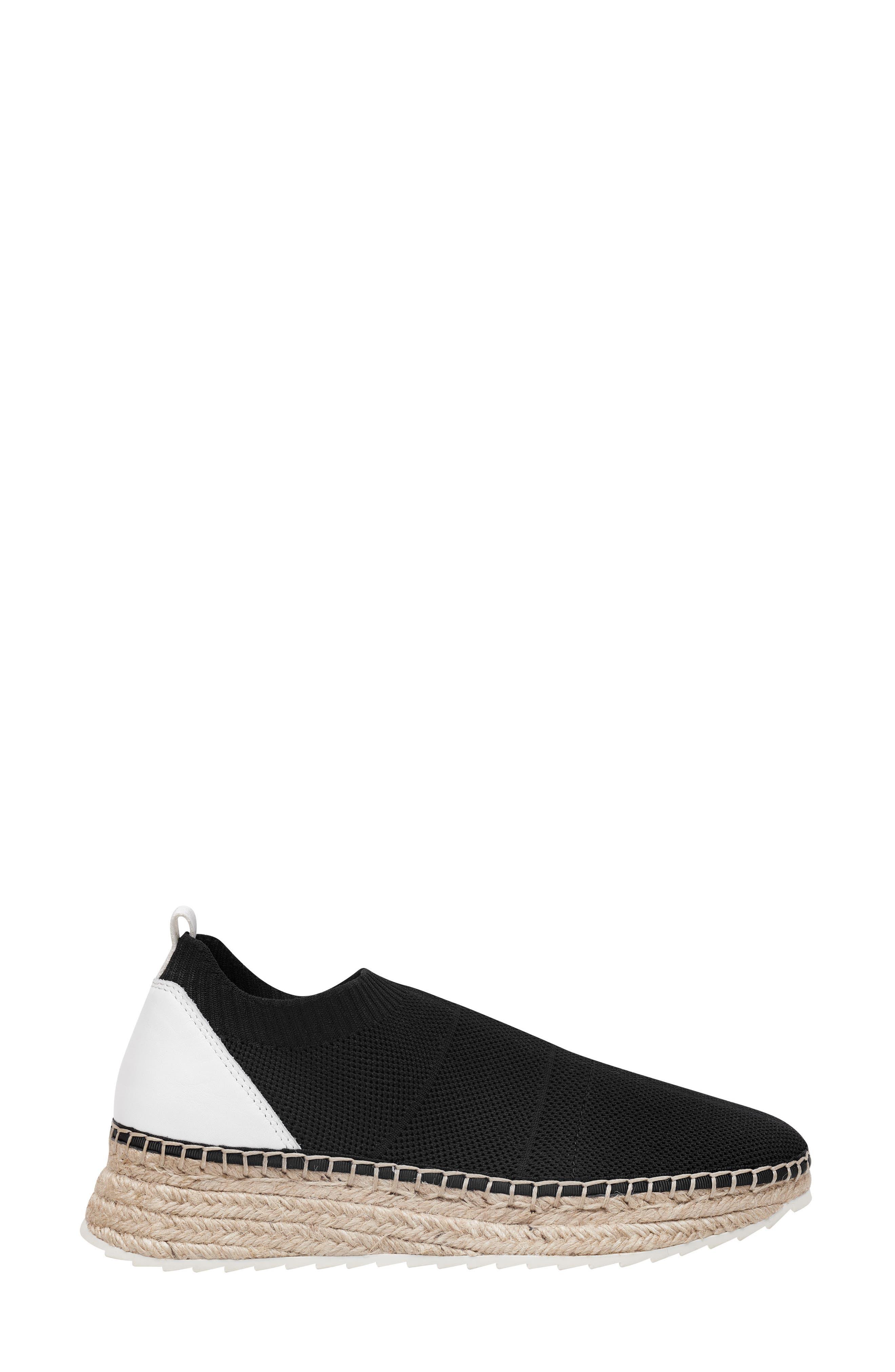 MARC FISHER LTD,                             Jilly Espadrille Sneaker,                             Alternate thumbnail 3, color,                             BLACK FABRIC