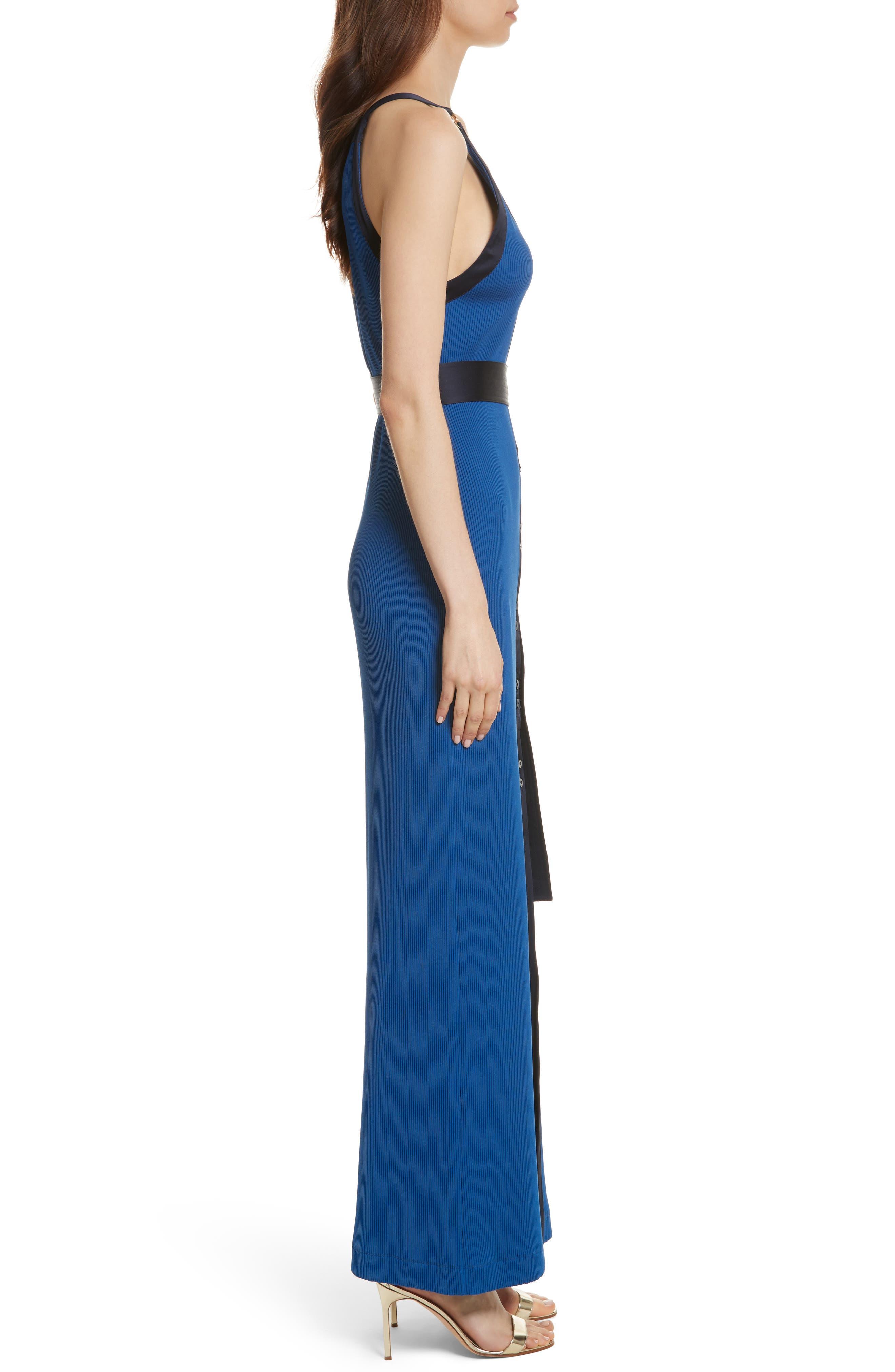 Diane von Furstenberg Ribbed Jersey Maxi Dress,                             Alternate thumbnail 3, color,                             412