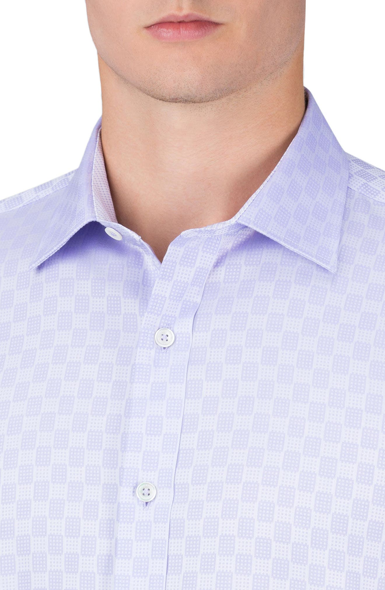 Shaped Fit Checker Print Sport Shirt,                             Alternate thumbnail 9, color,