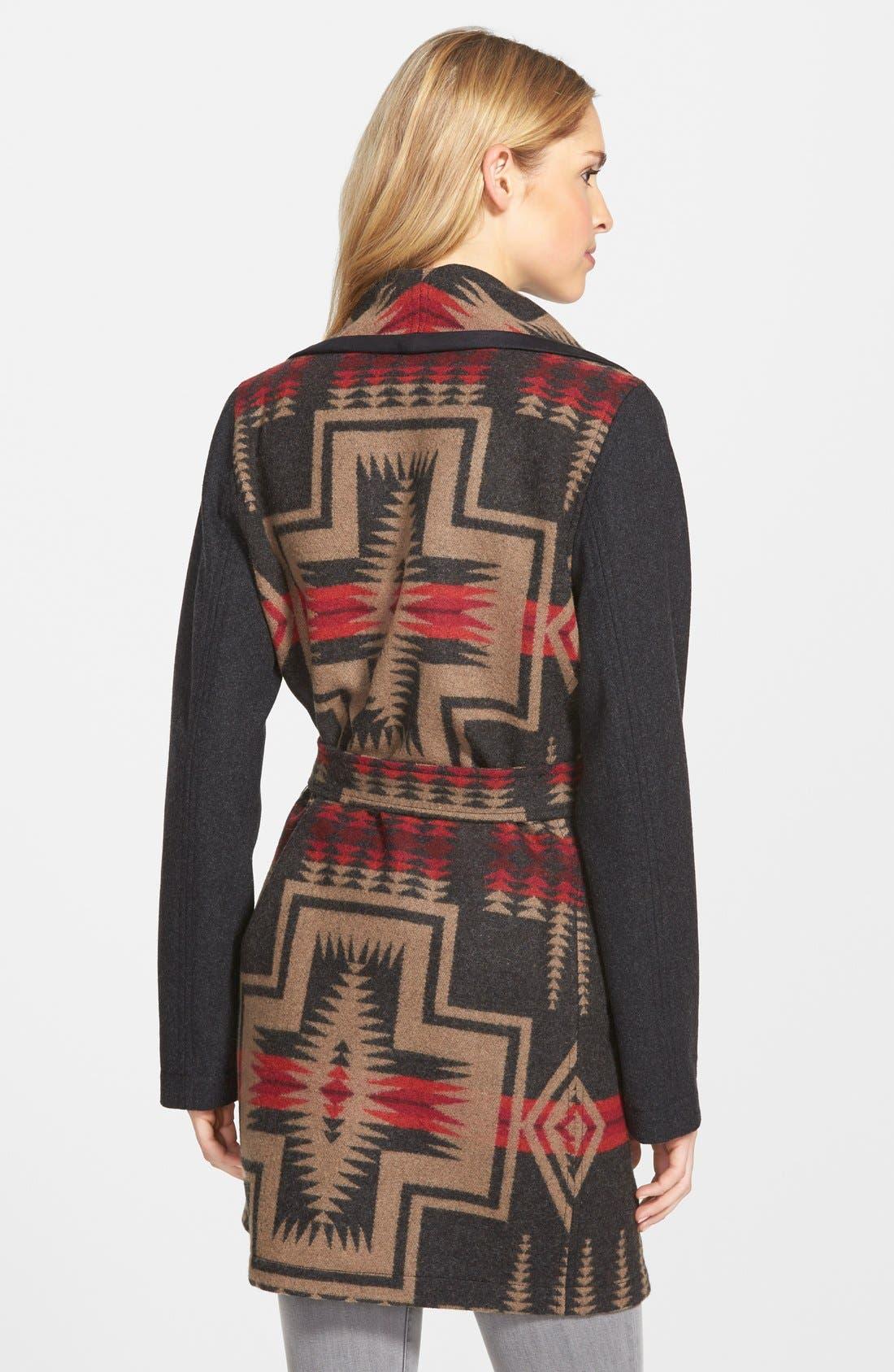 PENDLETON,                             Jacquard Wool Blanket Wrap Coat,                             Alternate thumbnail 3, color,                             035