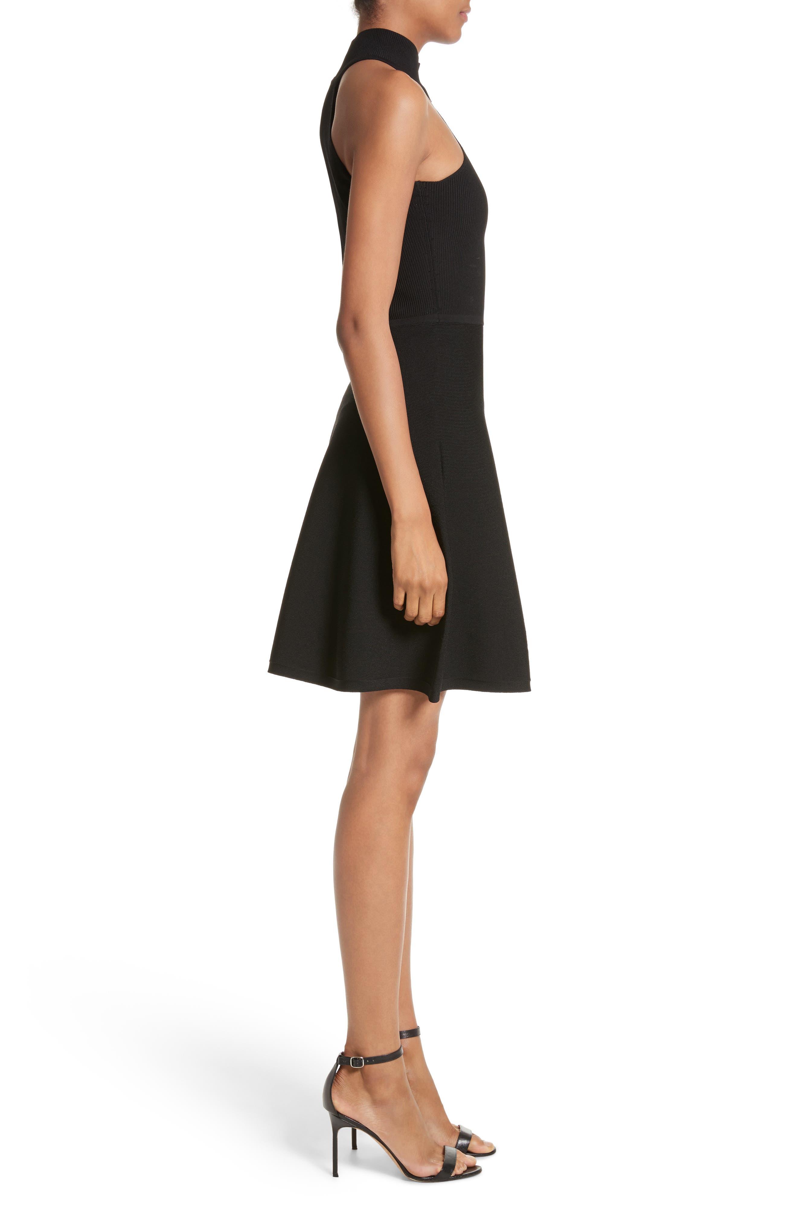 Vika One-Shoulder Knit Flare Dress,                             Alternate thumbnail 3, color,                             001