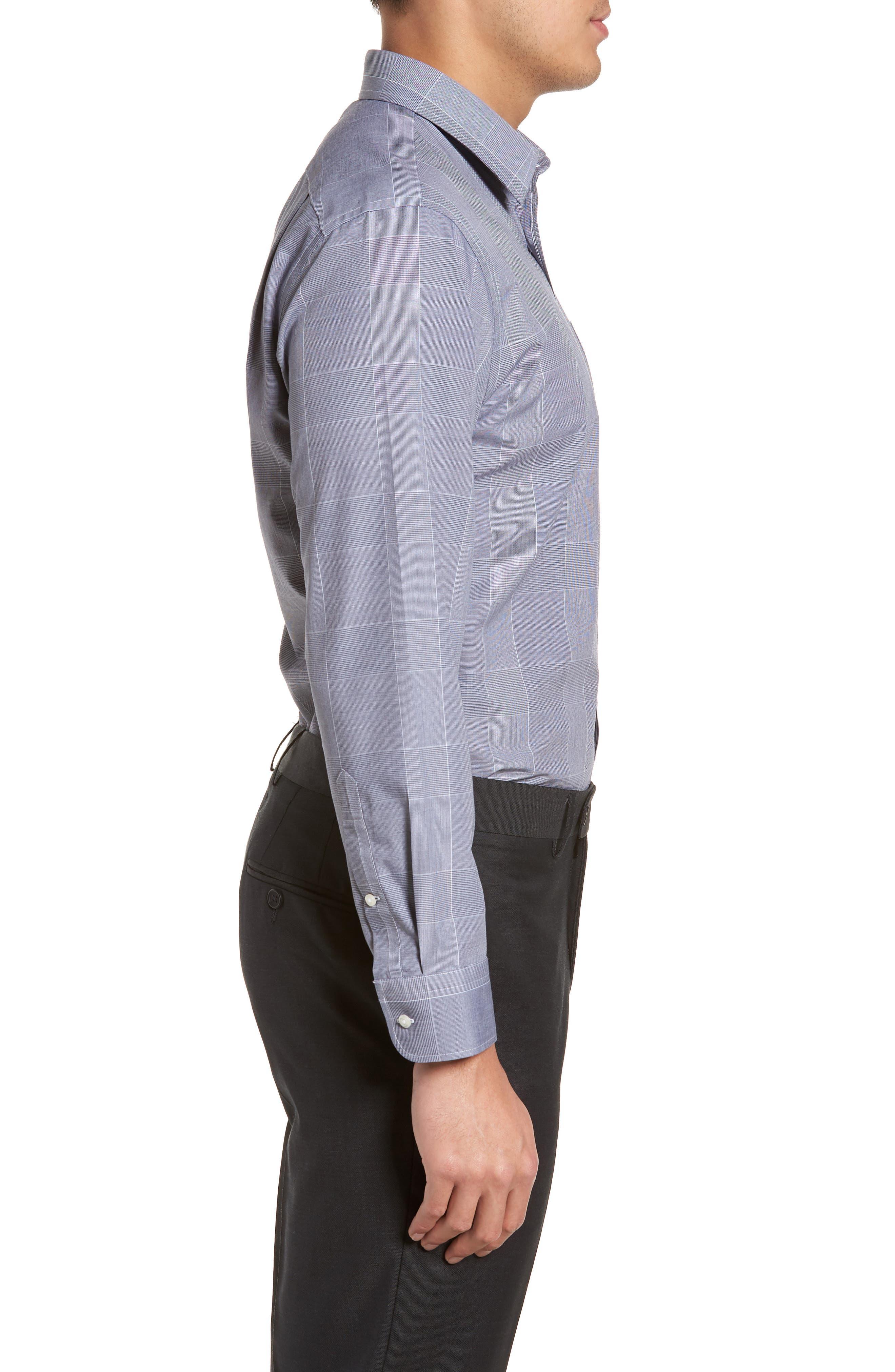 Smartcare<sup>™</sup> Trim Fit Plaid Dress Shirt,                             Alternate thumbnail 4, color,                             410
