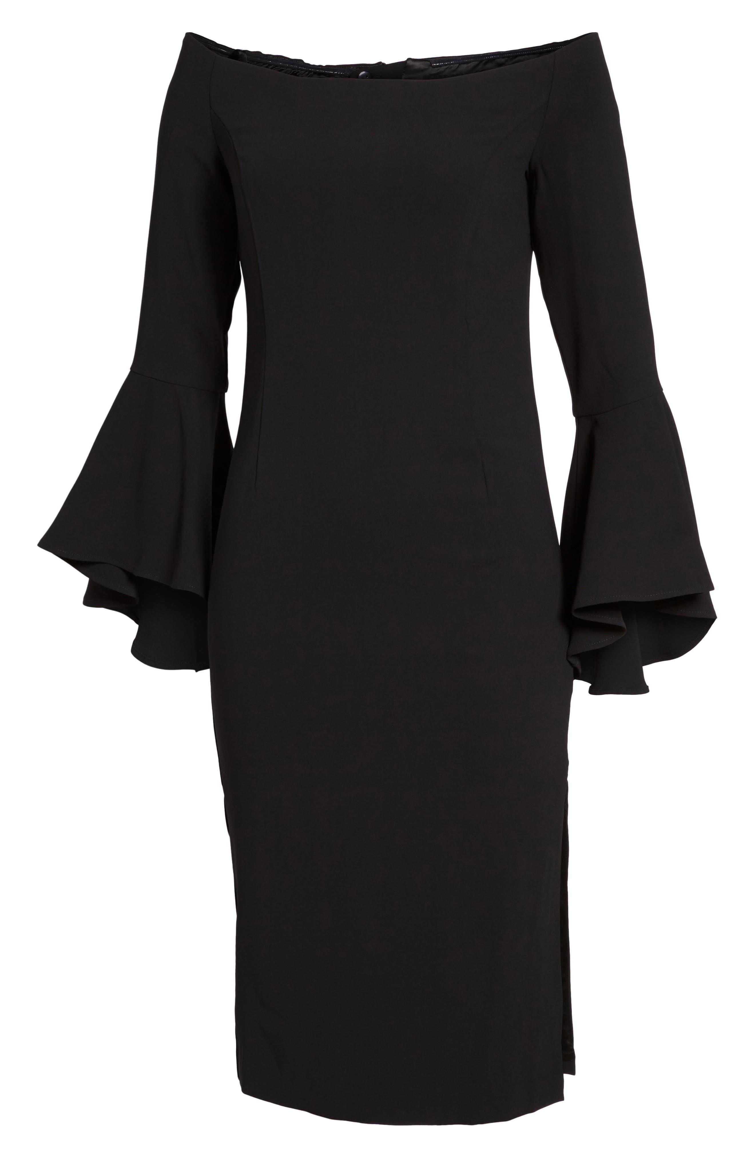 'Solange' Off the Shoulder Midi Dress,                             Main thumbnail 1, color,                             001