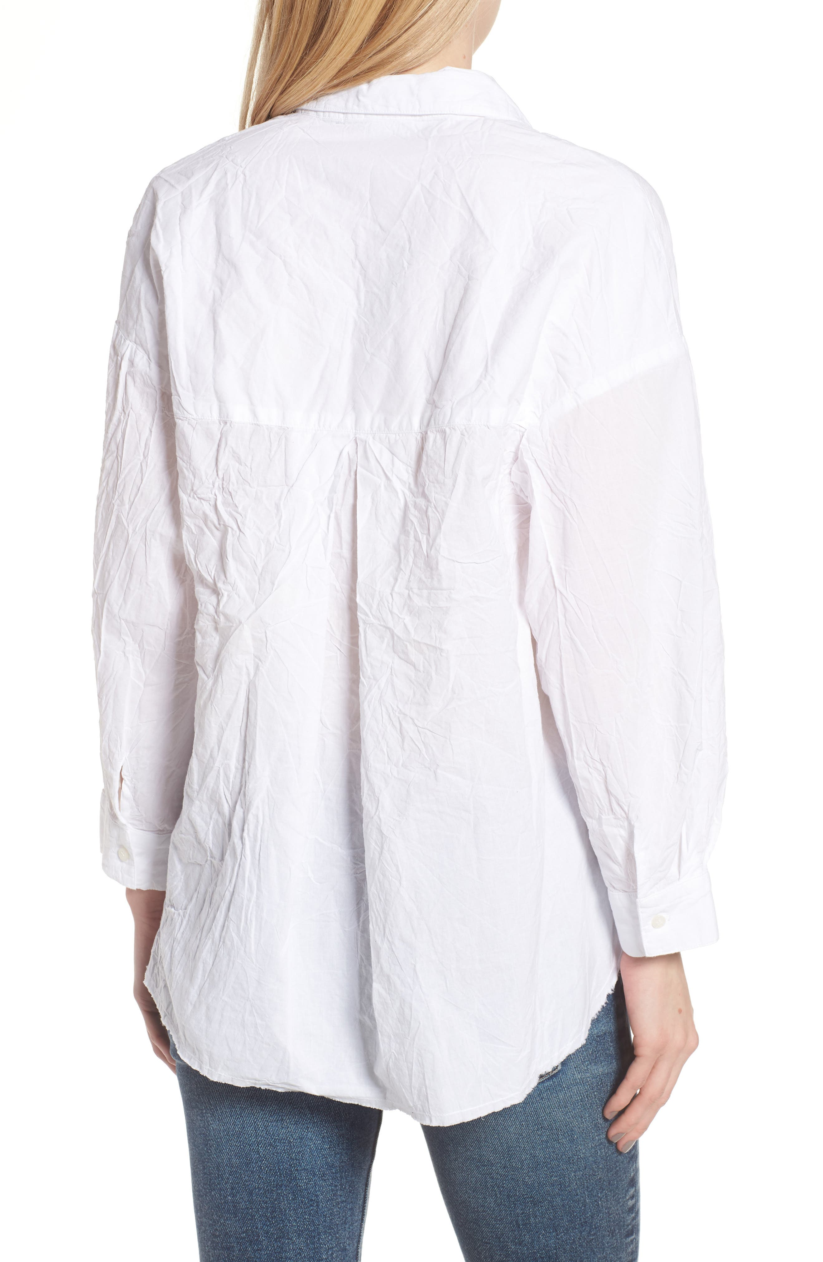 Oversize Button Front Shirt,                             Alternate thumbnail 2, color,                             WHITE