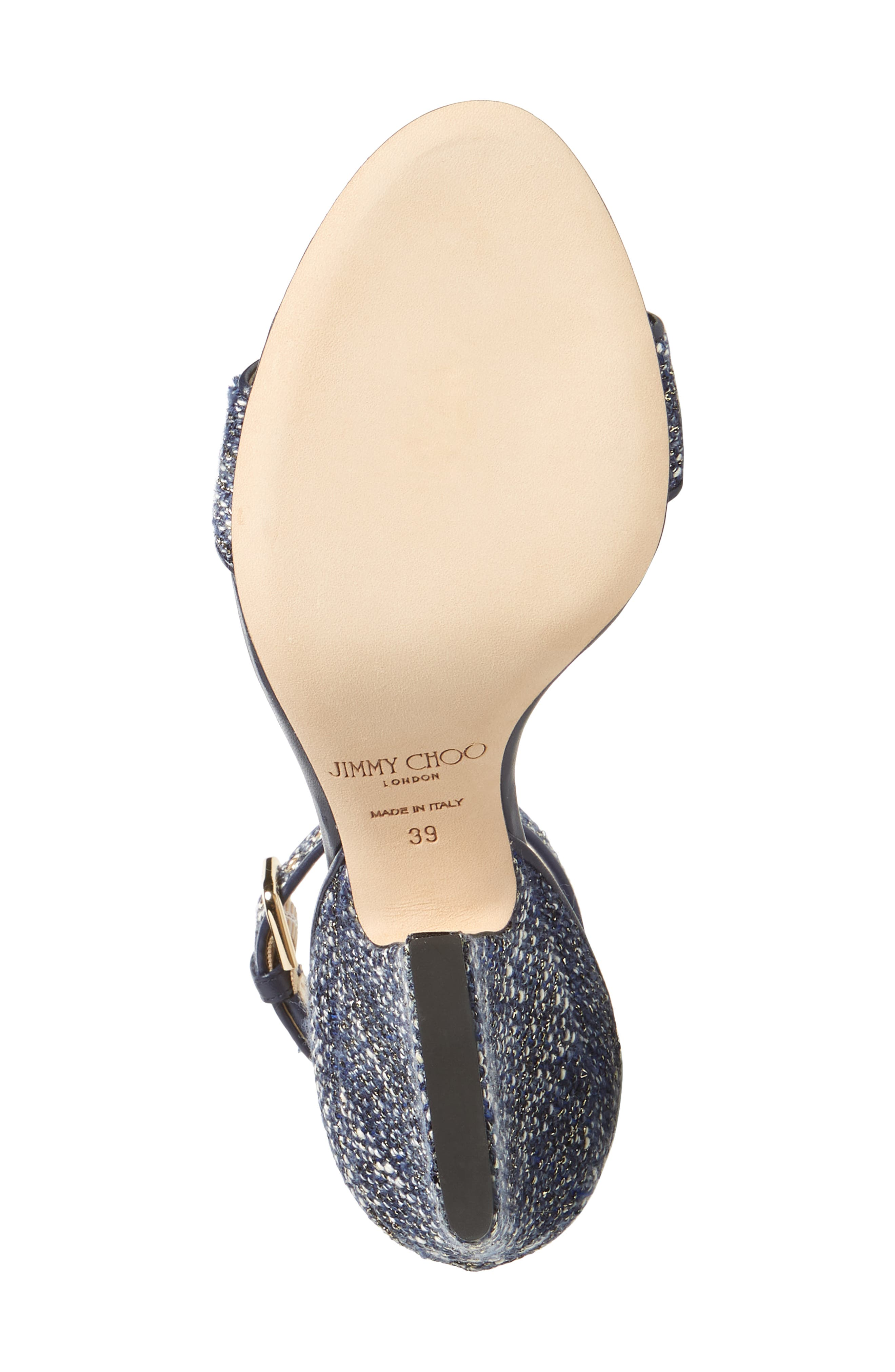 Edina Ankle Strap Sandal,                             Alternate thumbnail 6, color,                             NAVY GLITTER