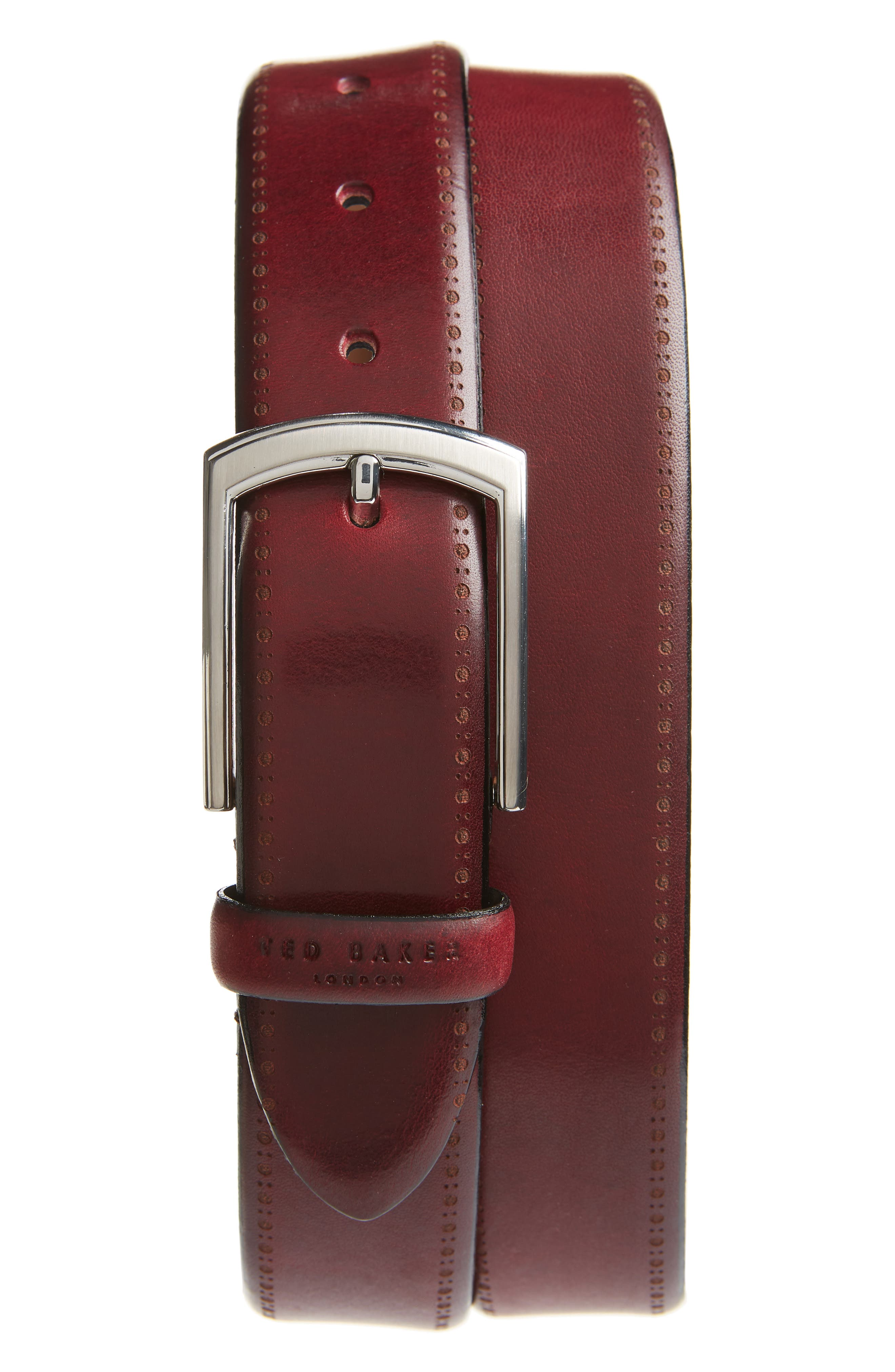 Burnished Brogue Leather Belt,                             Main thumbnail 1, color,                             RED