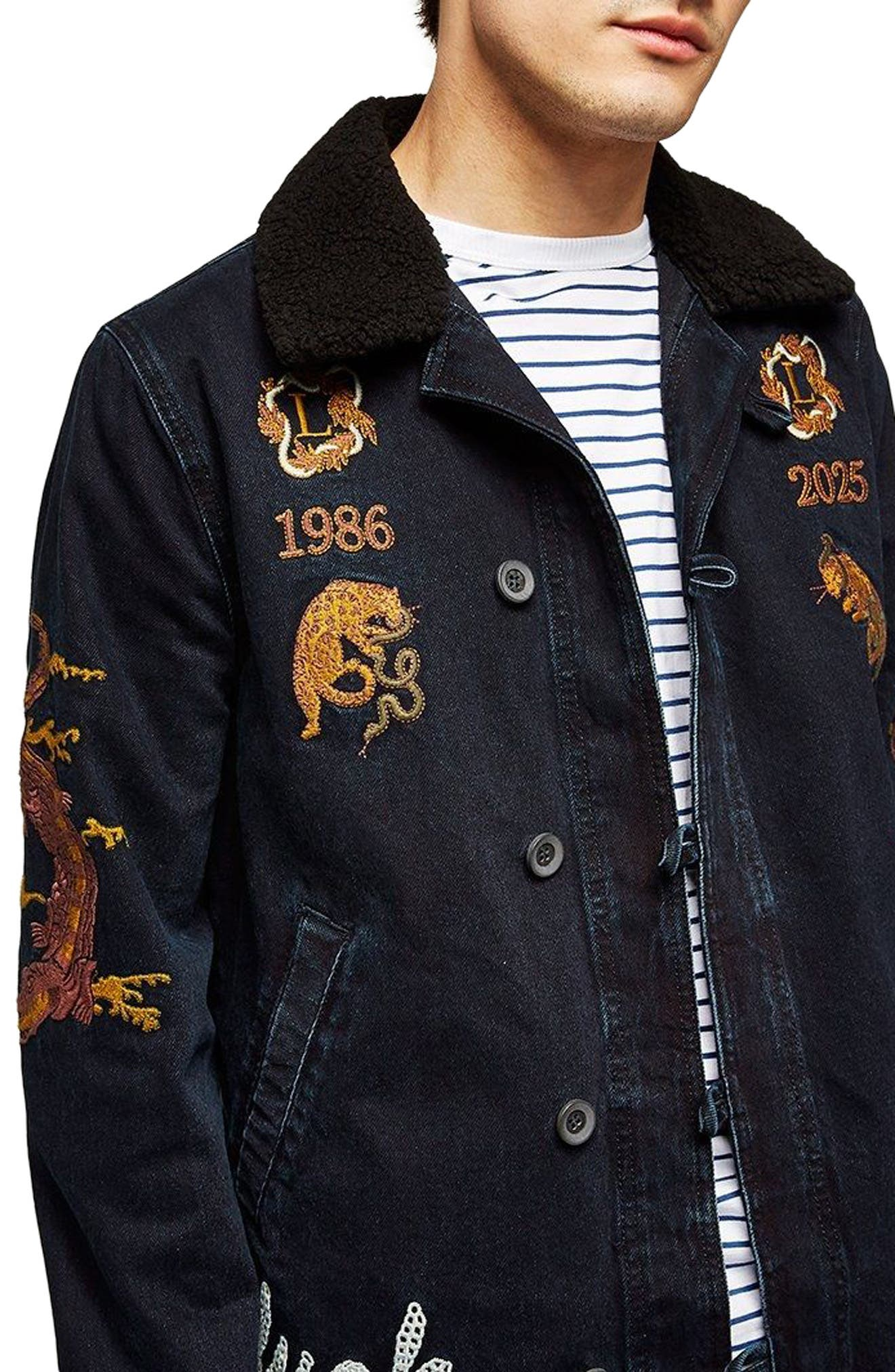 Decadent Embroidered Denim Jacket,                             Main thumbnail 1, color,