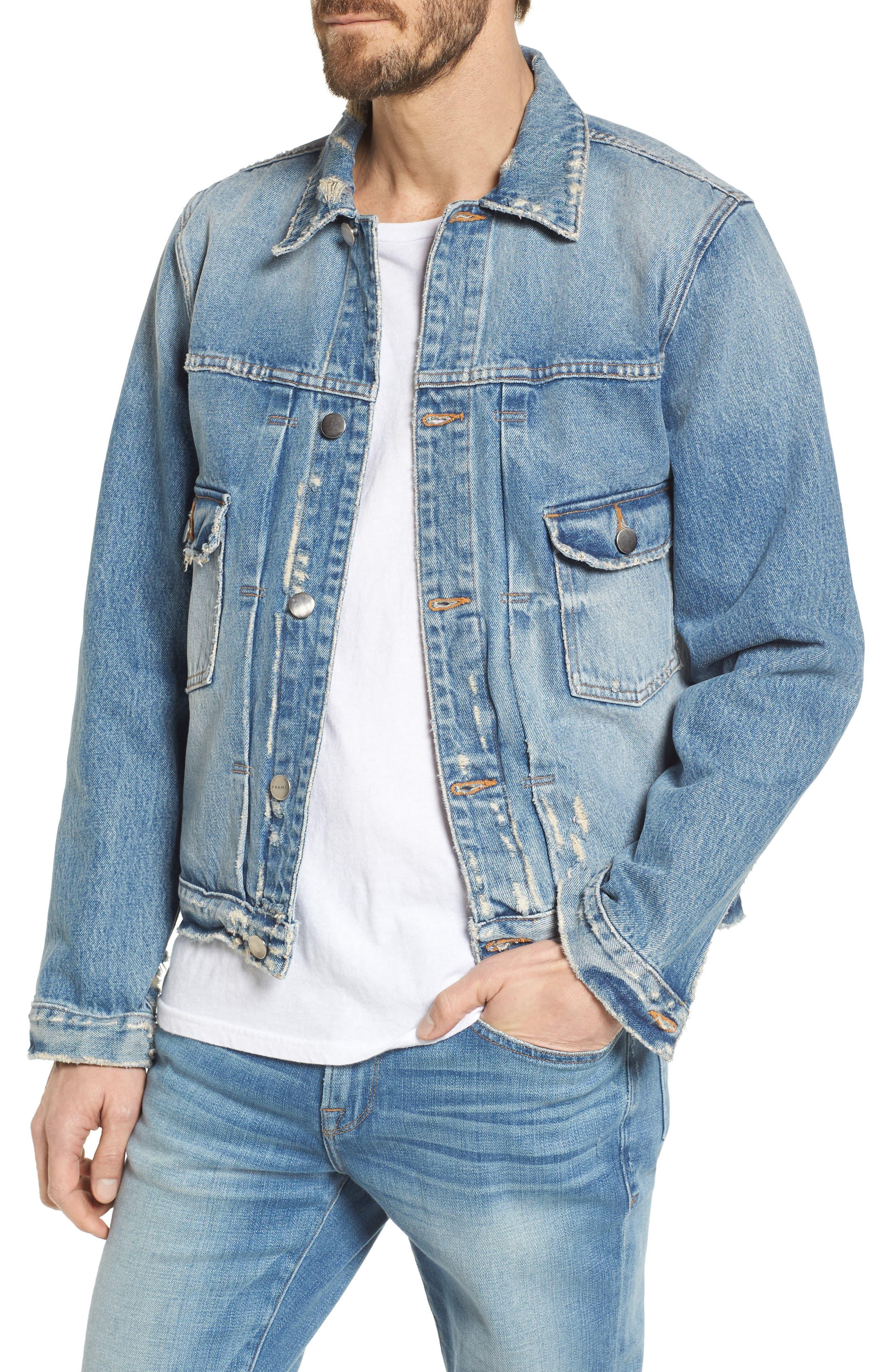 L'Homme Denim Jacket,                             Main thumbnail 1, color,                             PIONEER