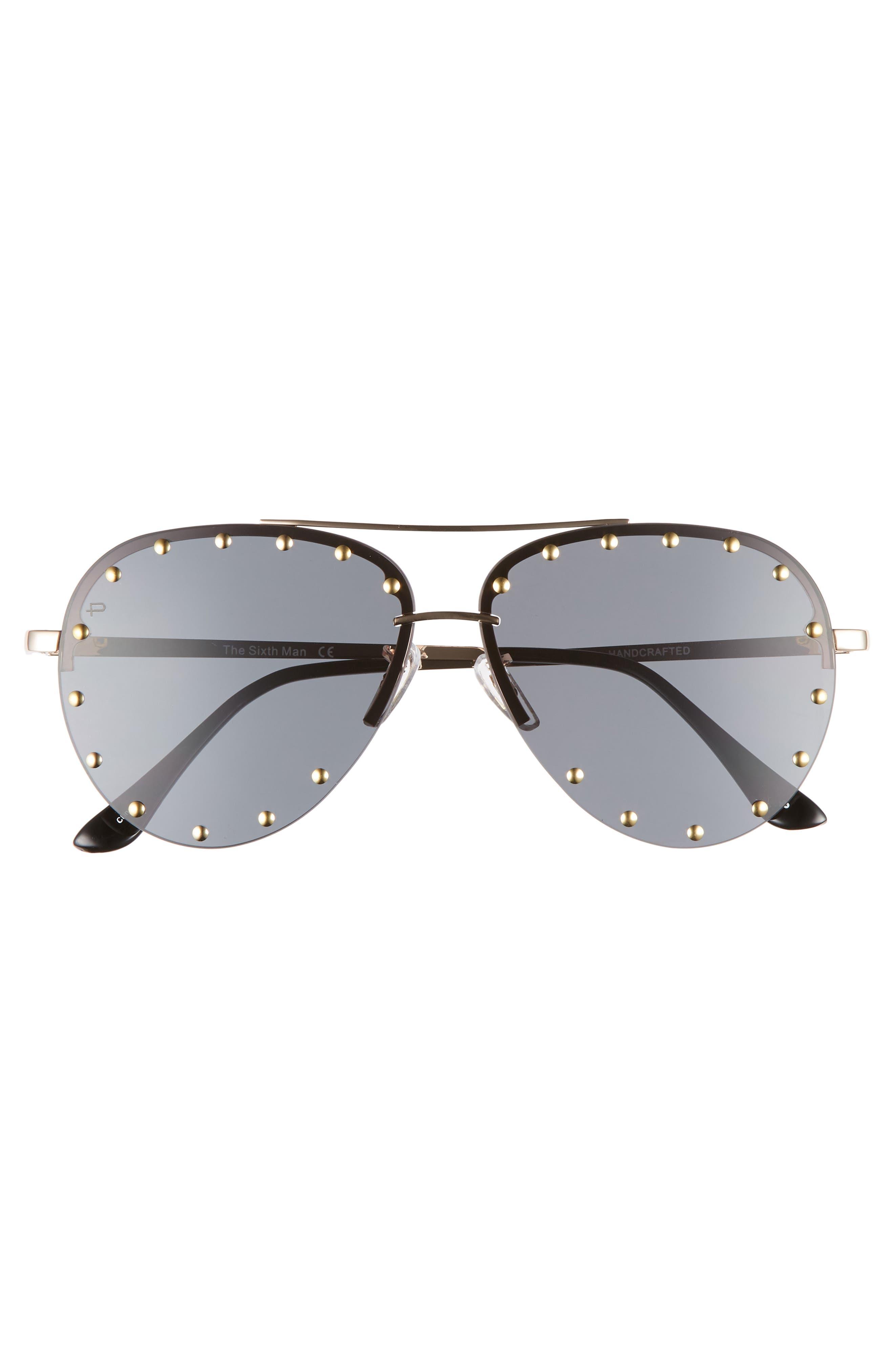 Privé Revaux The Sixth Man 60mm Studded Aviator Sunglasses,                             Alternate thumbnail 3, color,                             001