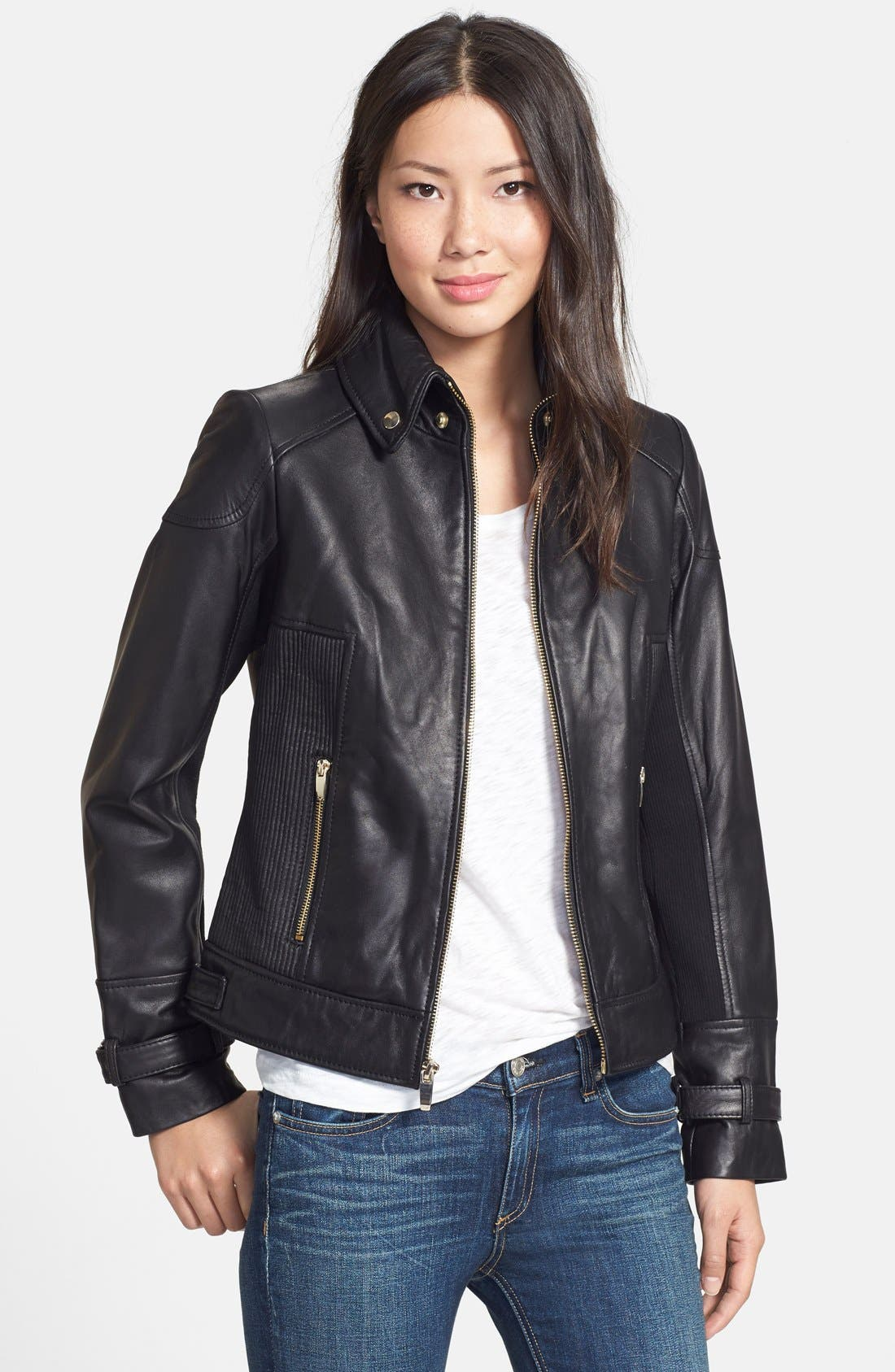 Ruched Side Leather Jacket,                         Main,                         color, 001