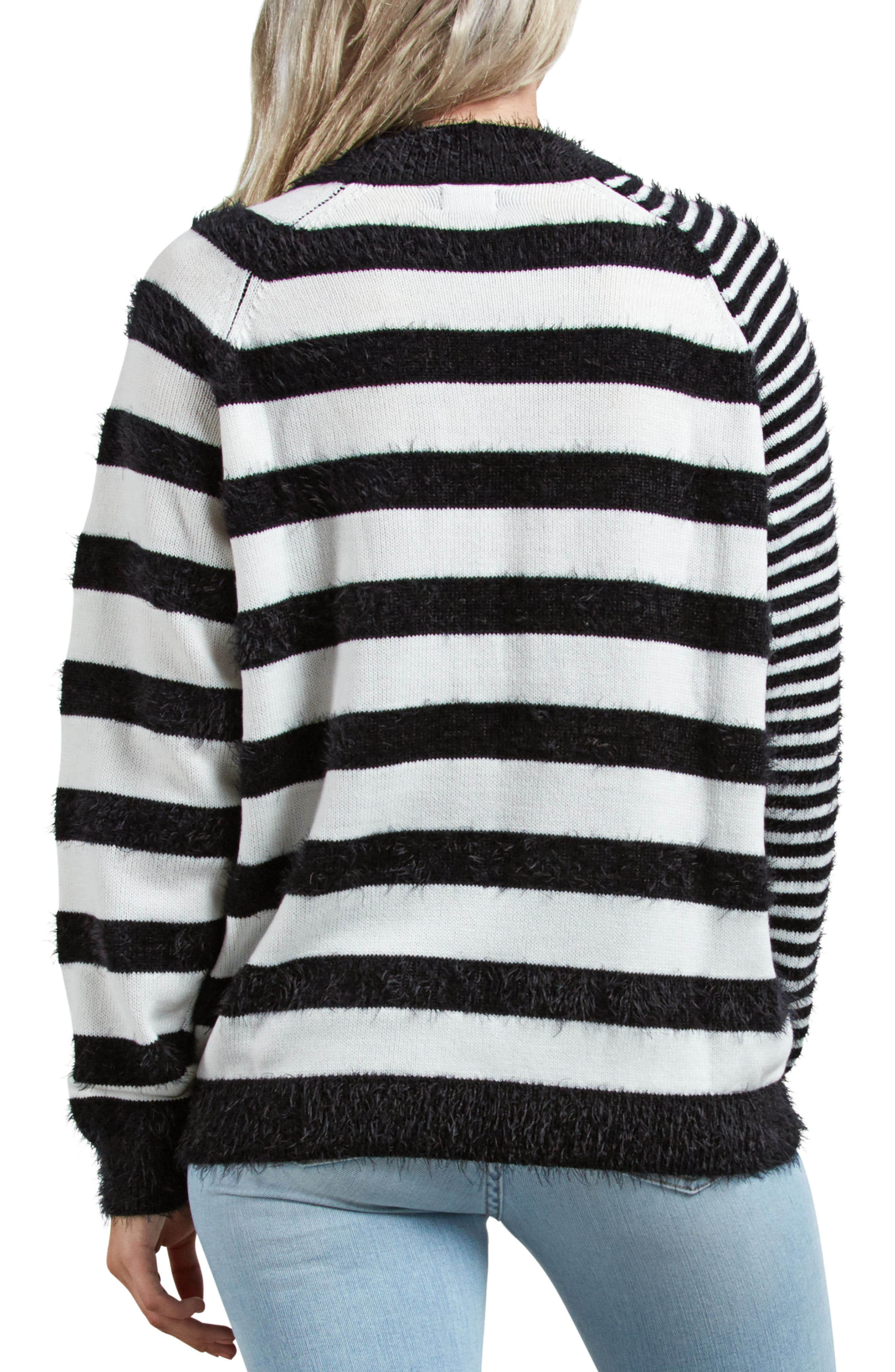 Need Space Stripe Sweater,                             Alternate thumbnail 2, color,                             BLACK