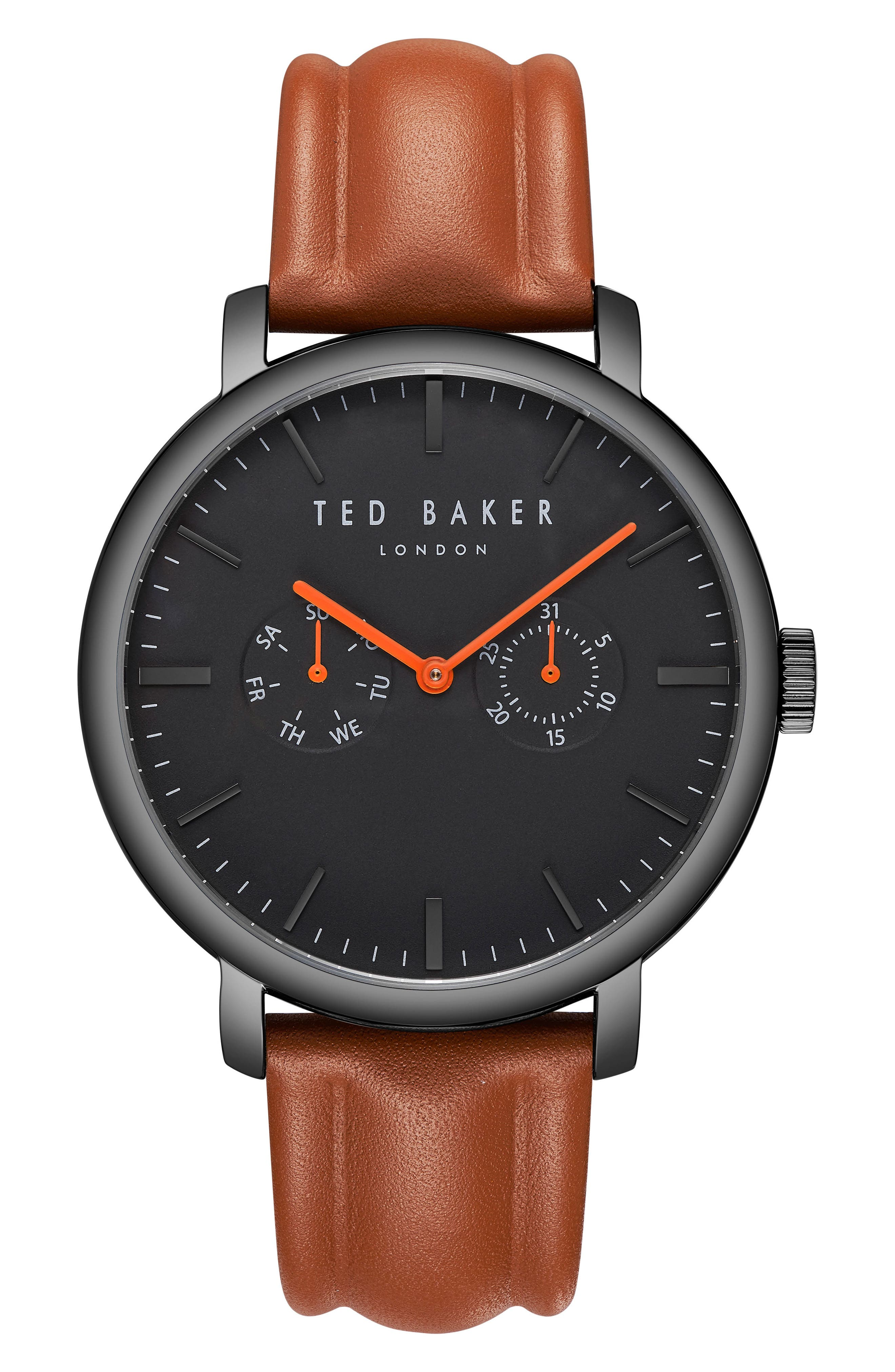 Trent Leather Strap Watch, 43mm,                         Main,                         color, BLACK/ LIGHT BROWN