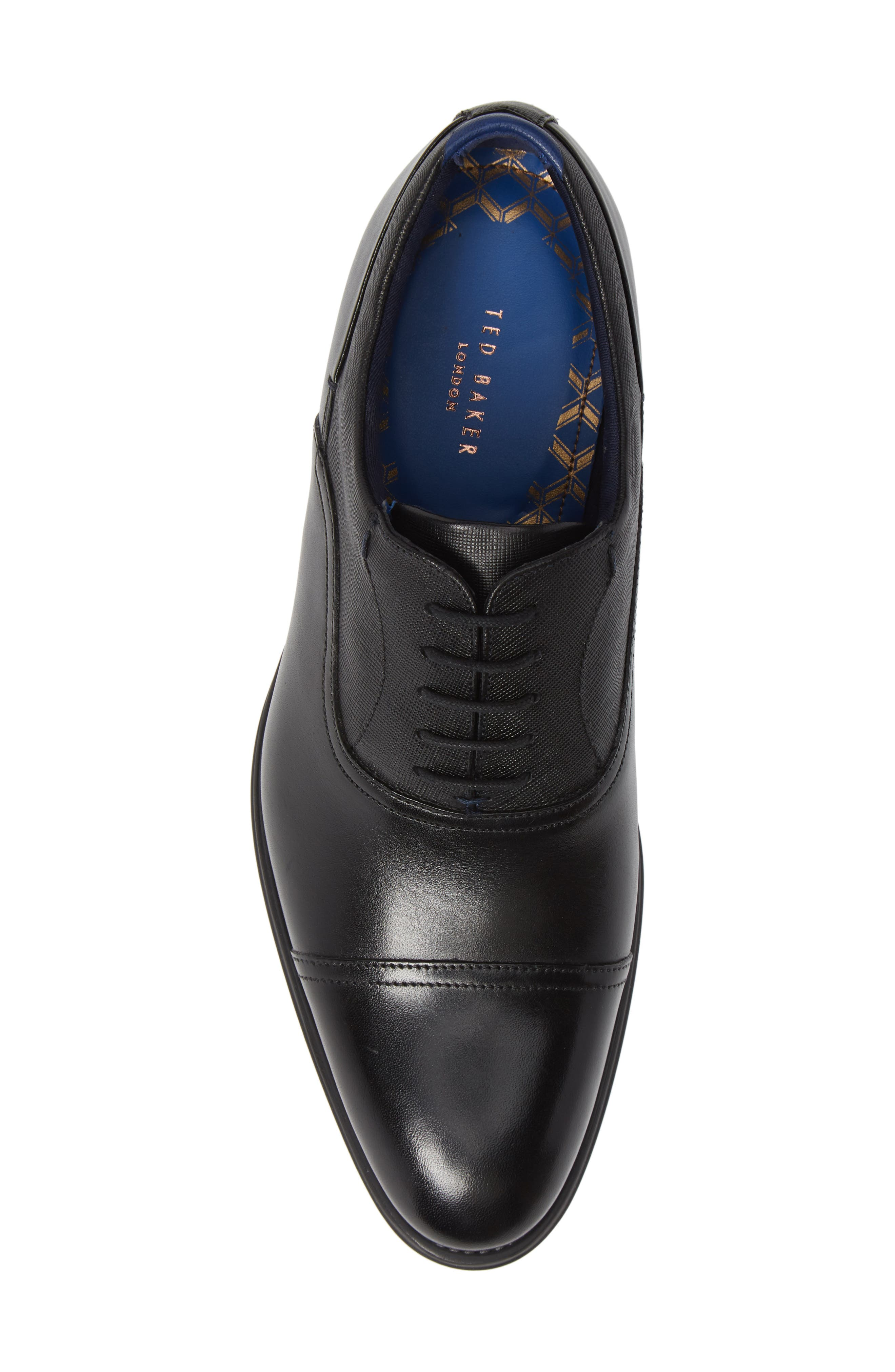 Fhares Cap Toe Oxford,                             Alternate thumbnail 5, color,                             BLACK