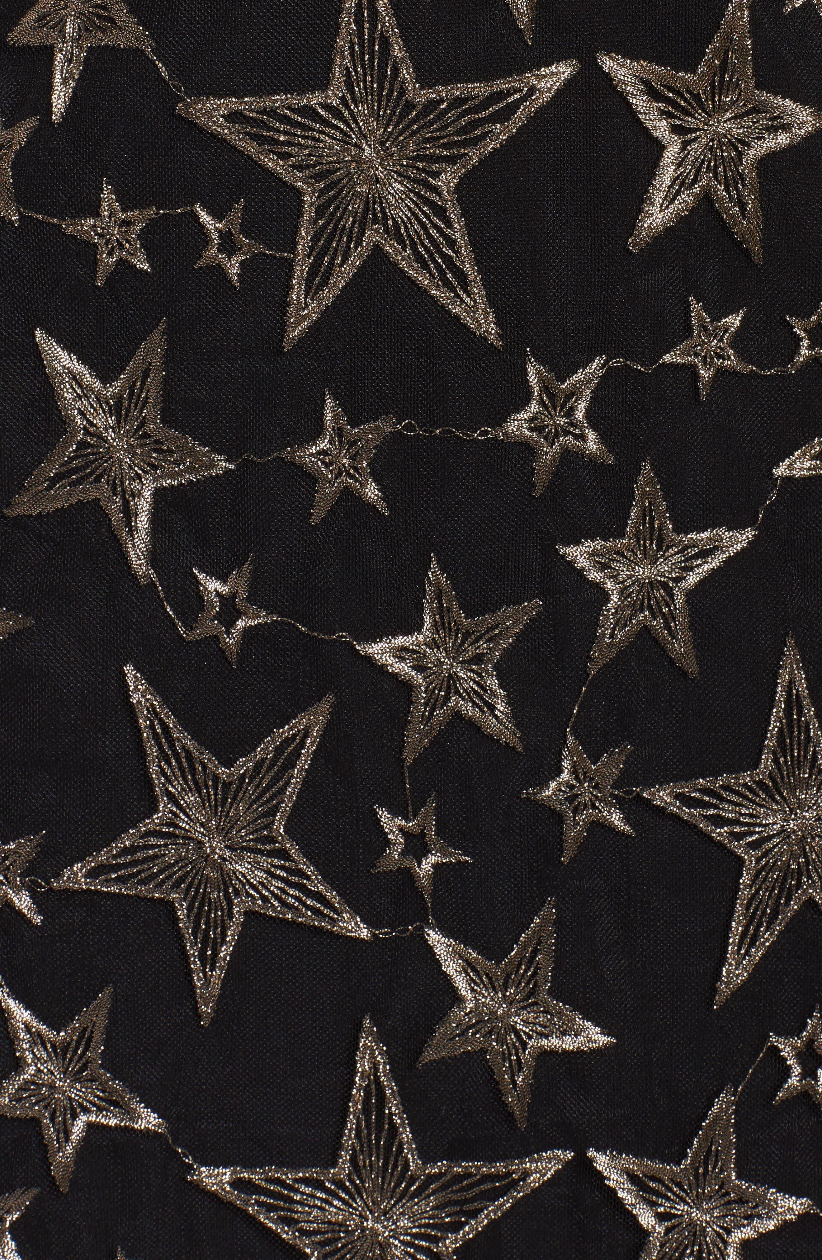 Off the Shoulder Star Embroidered Dress,                             Alternate thumbnail 5, color,                             001