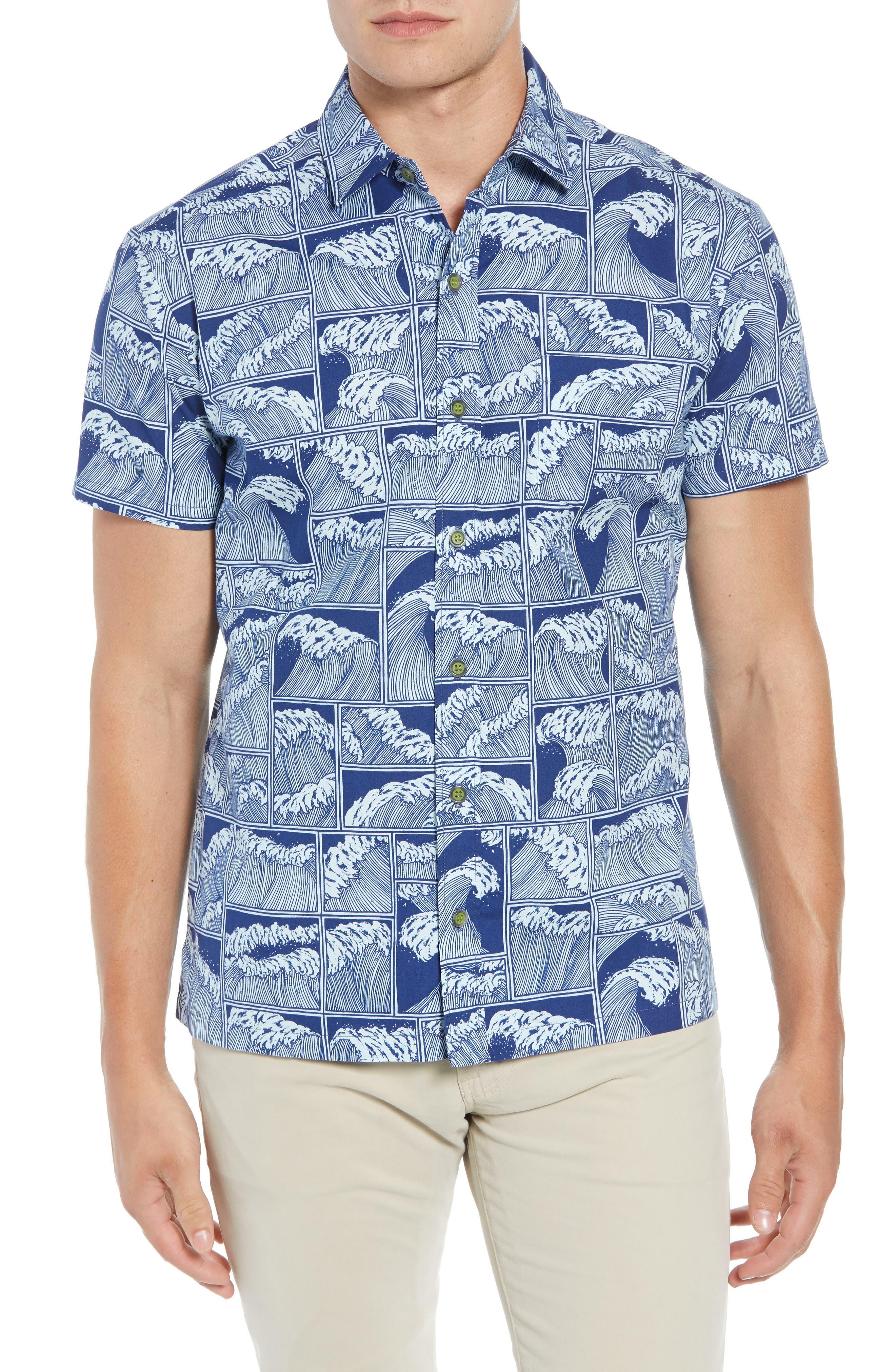 King Tide Trim Fit Sport Shirt,                         Main,                         color, NAVY
