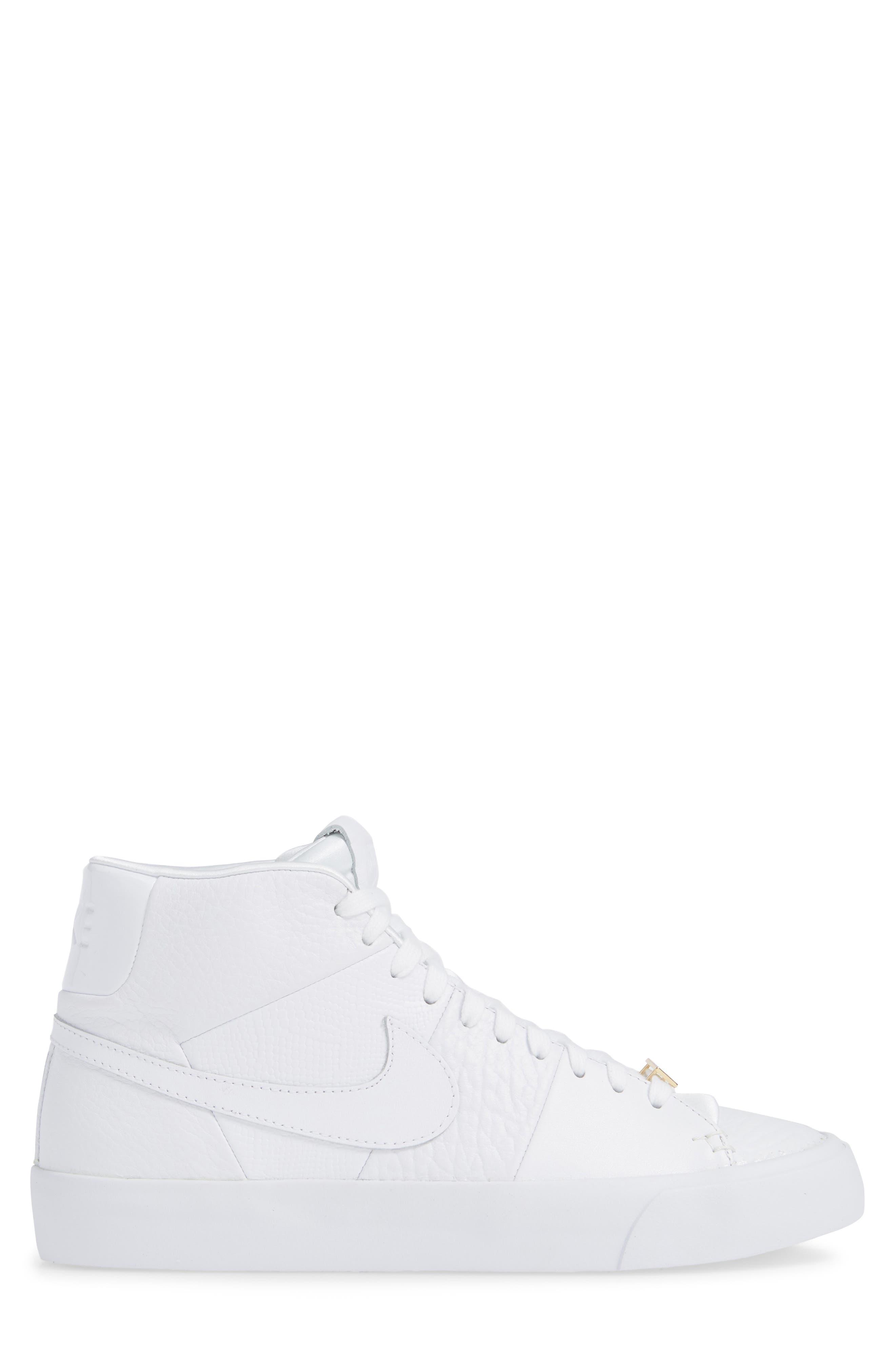 Blazer Royal QS High Top Sneaker,                             Alternate thumbnail 3, color,                             WHITE/ WHITE/ WHITE