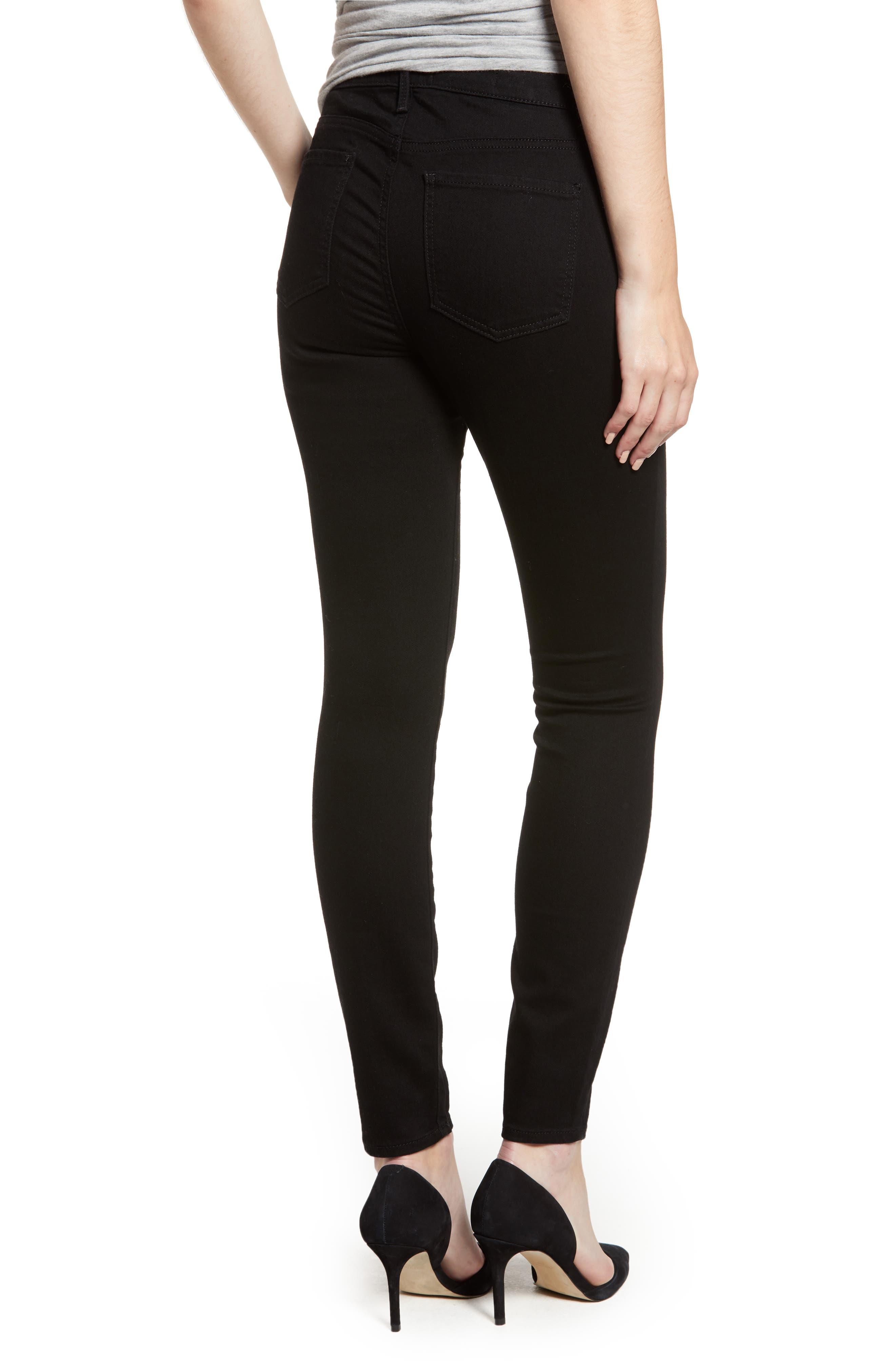 Ami High Waist Stretch Super Skinny Jeans,                             Alternate thumbnail 2, color,                             BLACK