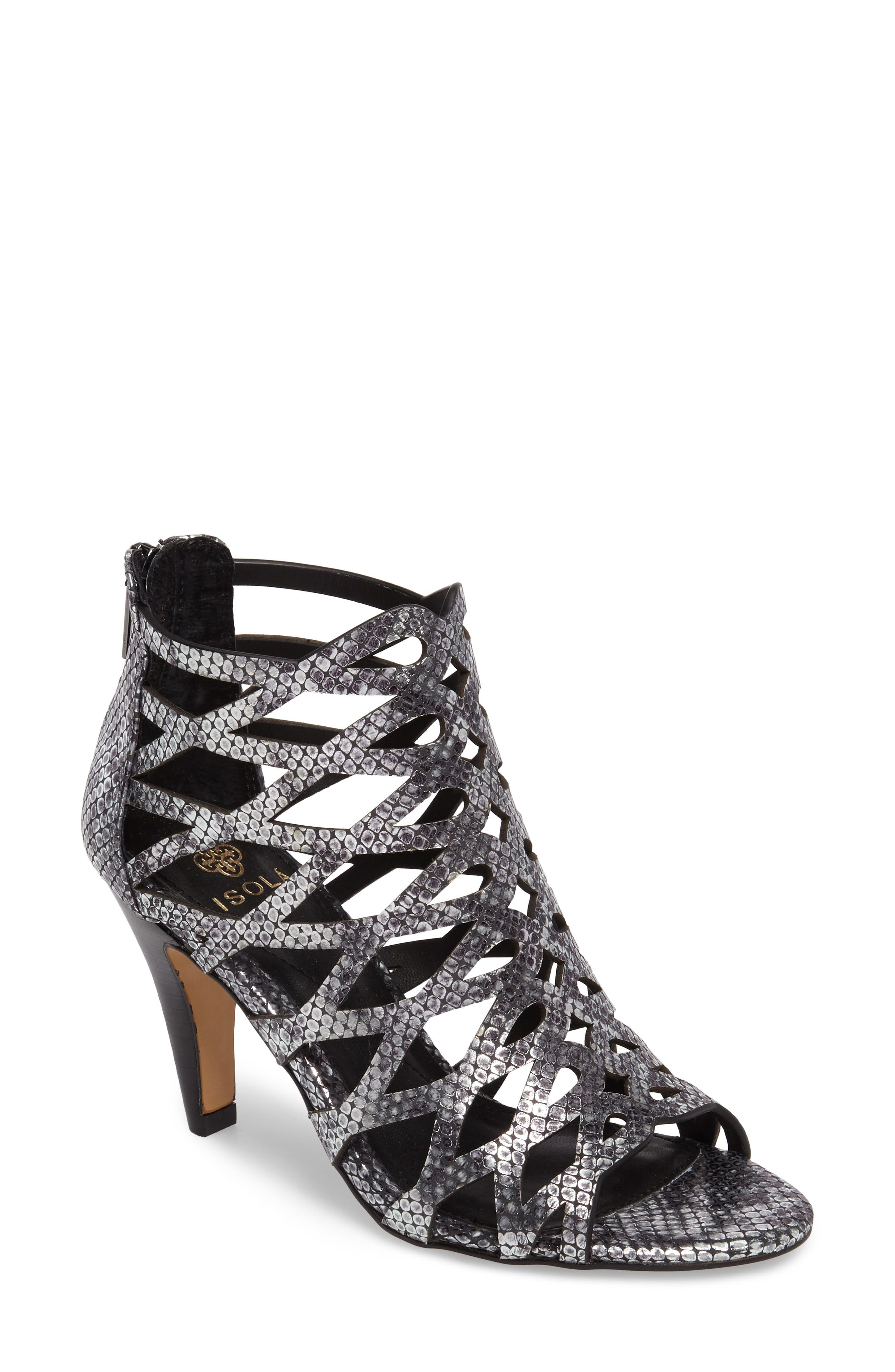 Debra Cage Sandal,                         Main,                         color, ANTHRACITE SNAKE PRINT LEATHER