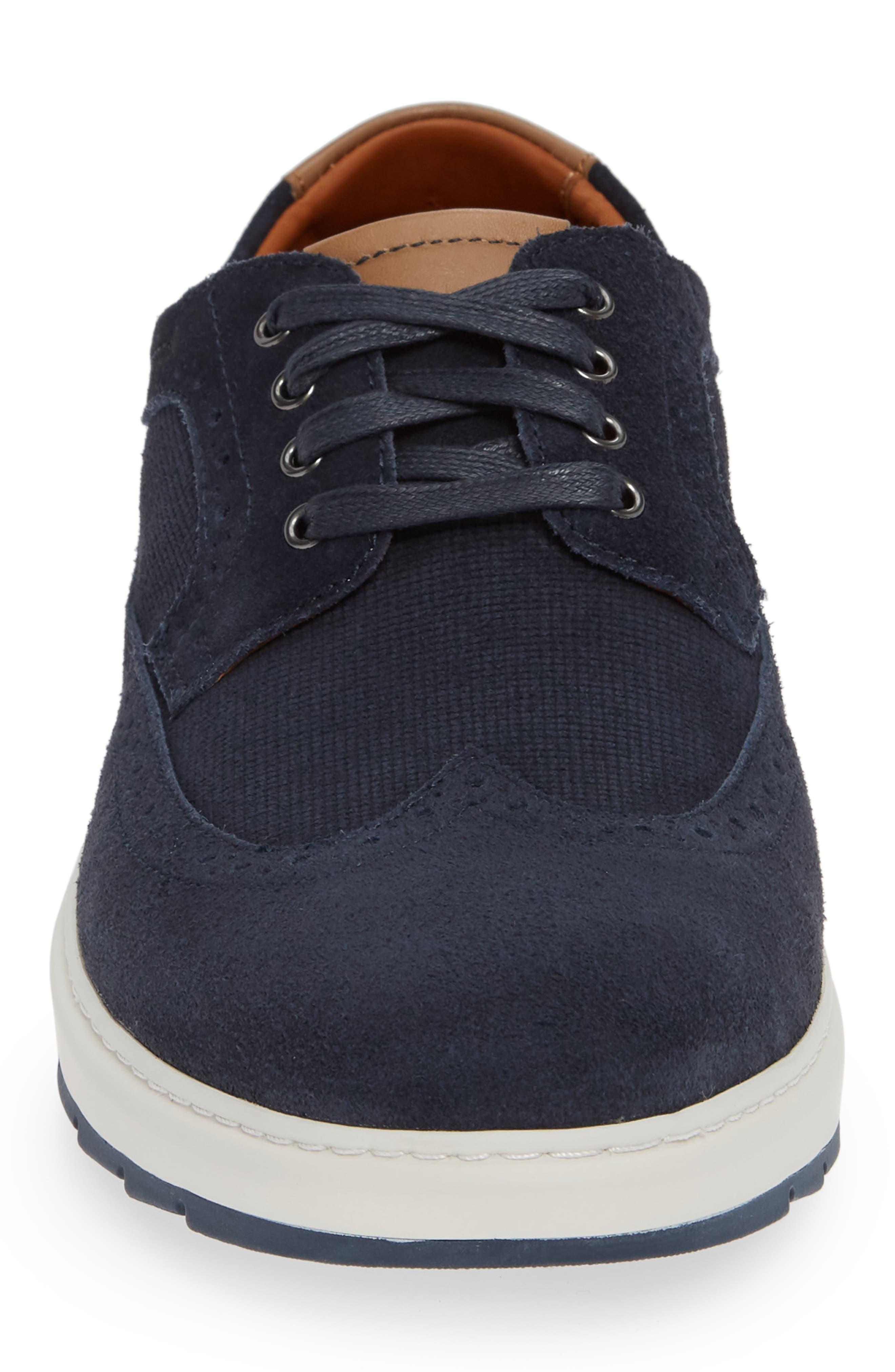 Elliston Wingtip Sneaker,                             Alternate thumbnail 4, color,                             NAVY SUEDE