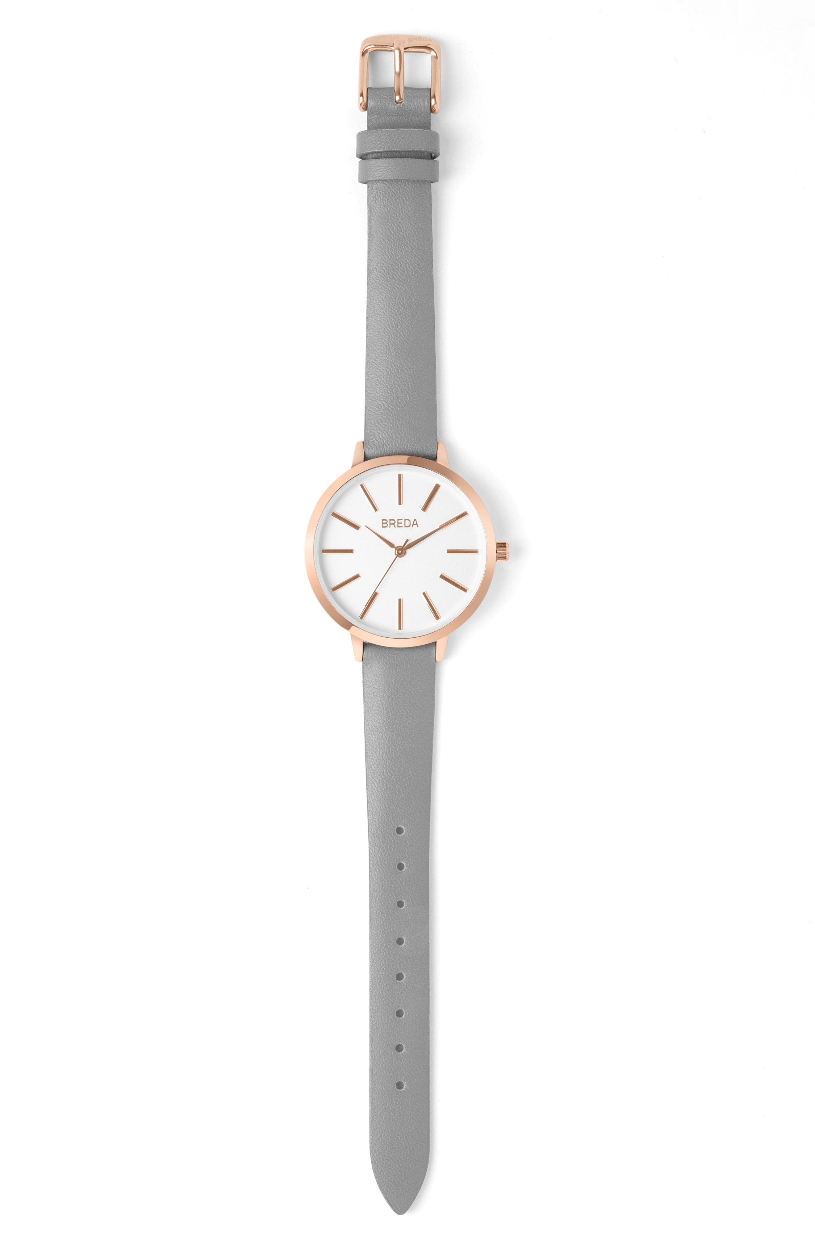 Joule Round Leather Strap Watch, 37mm,                         Main,                         color, GREY/ WHITE/ ROSE GOLD